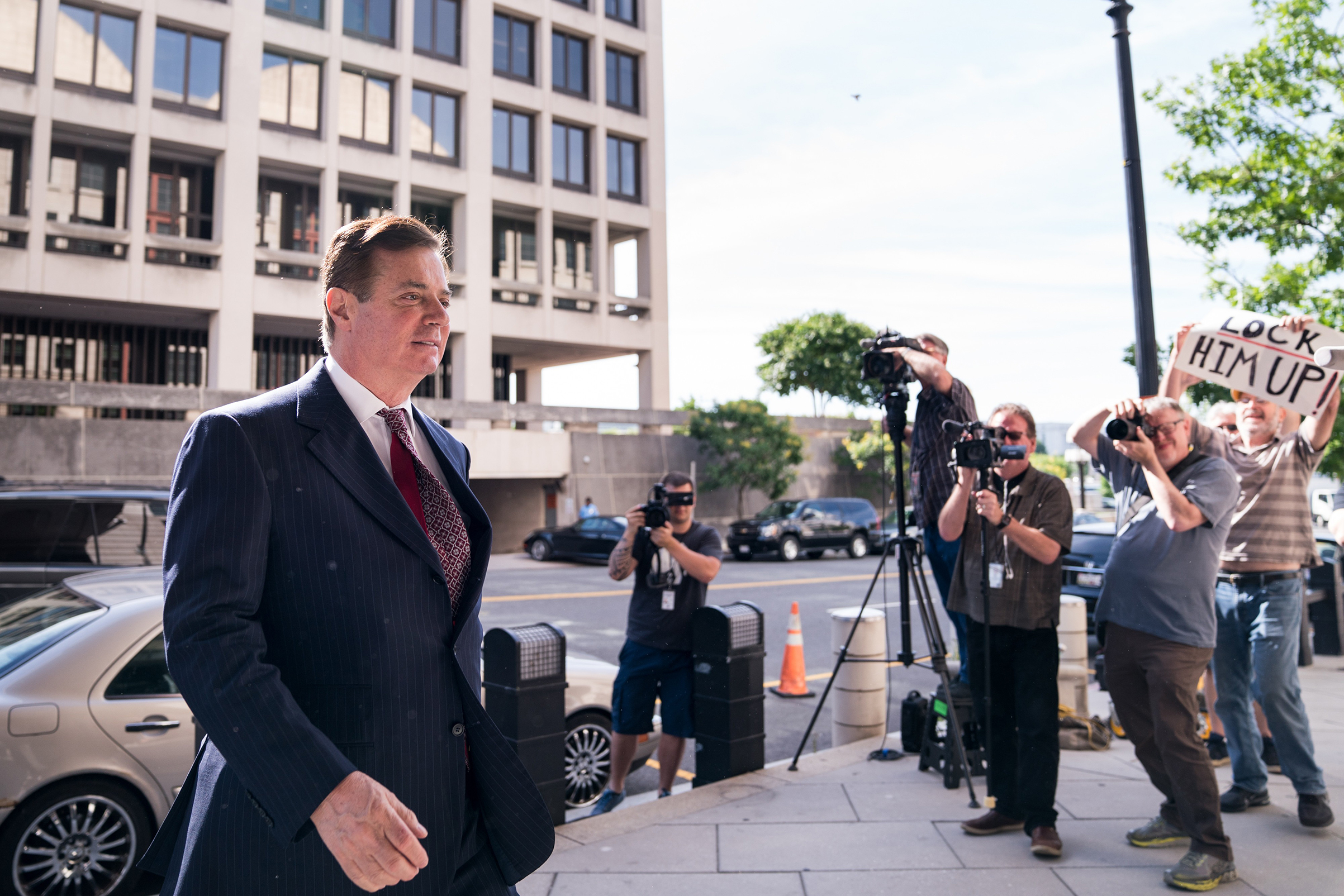 Manafort, outside a federal courthouse in Washington in June, was found guilty of eight counts of bank and tax fraud on Aug. 21