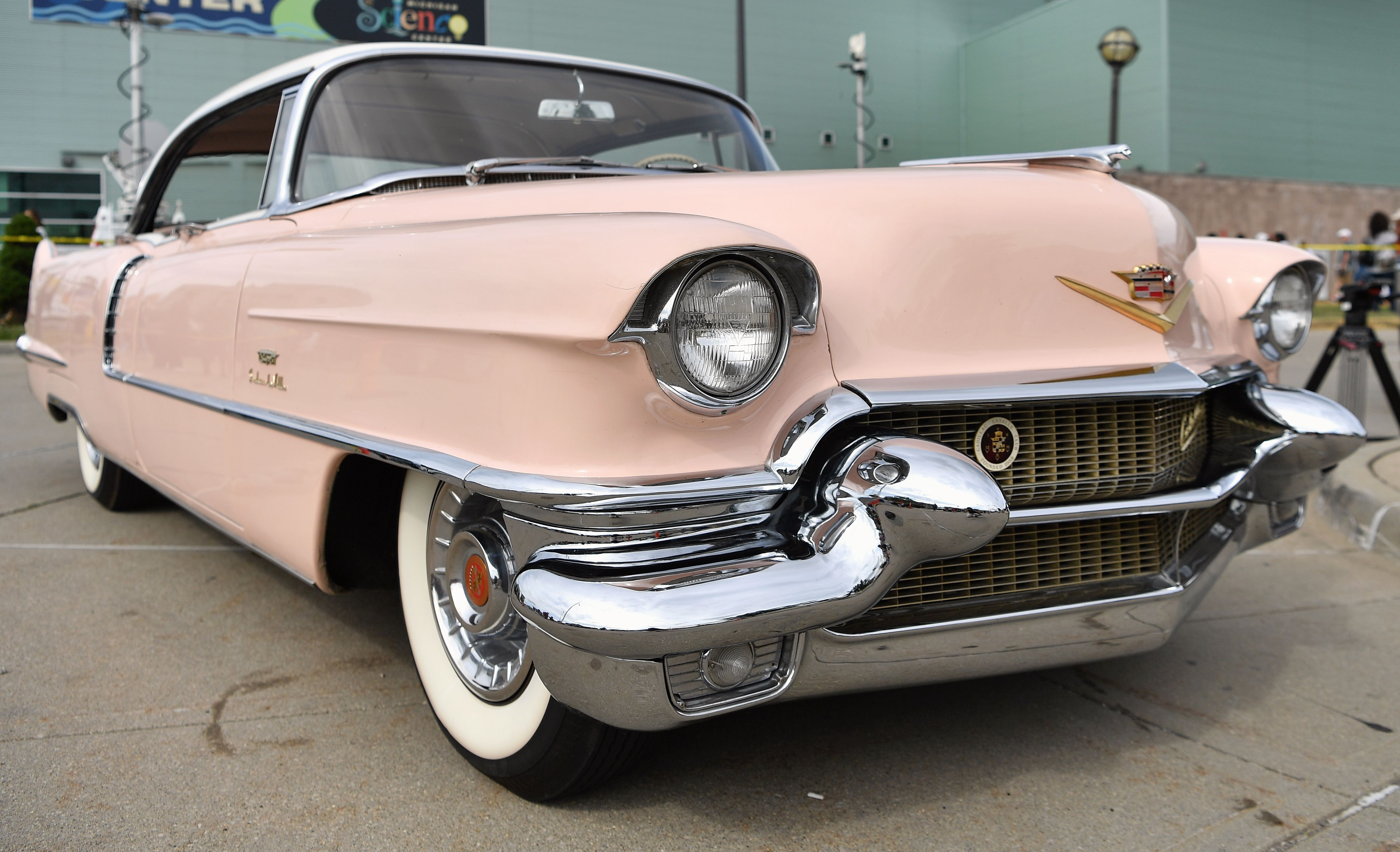 A pink Cadillac is parked at the Charles H. Wright Museum of African American History on August 29, 2018 in Detroit, Michigan.