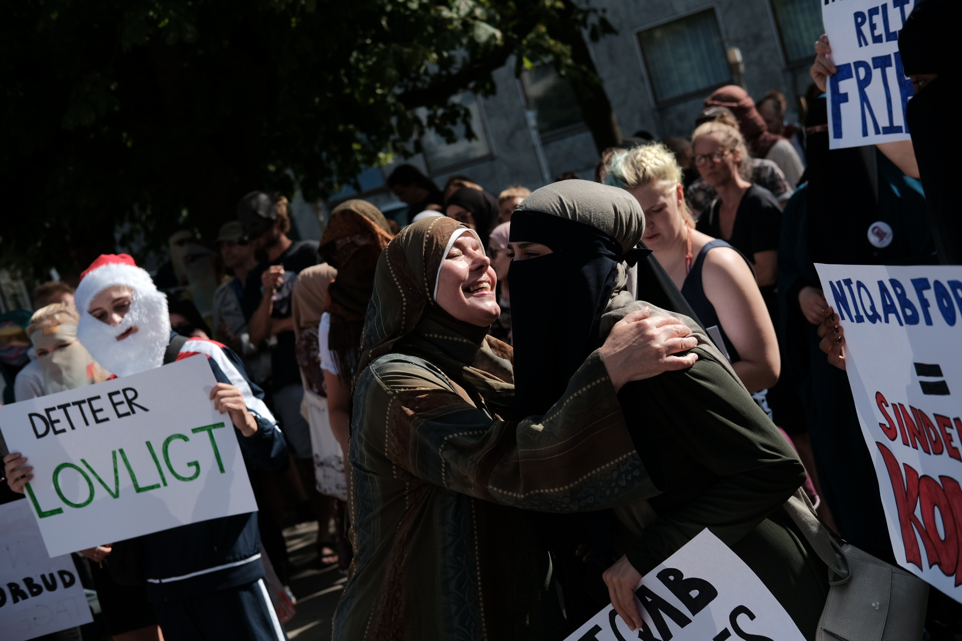 Thousands of people protest in Aarhus, Denmark, on August 1, 2018 in defiance of the Danish Governments ban on the burka and niqab.