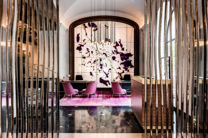 The lobbu of Raffles Europejski hotel in Warsaw