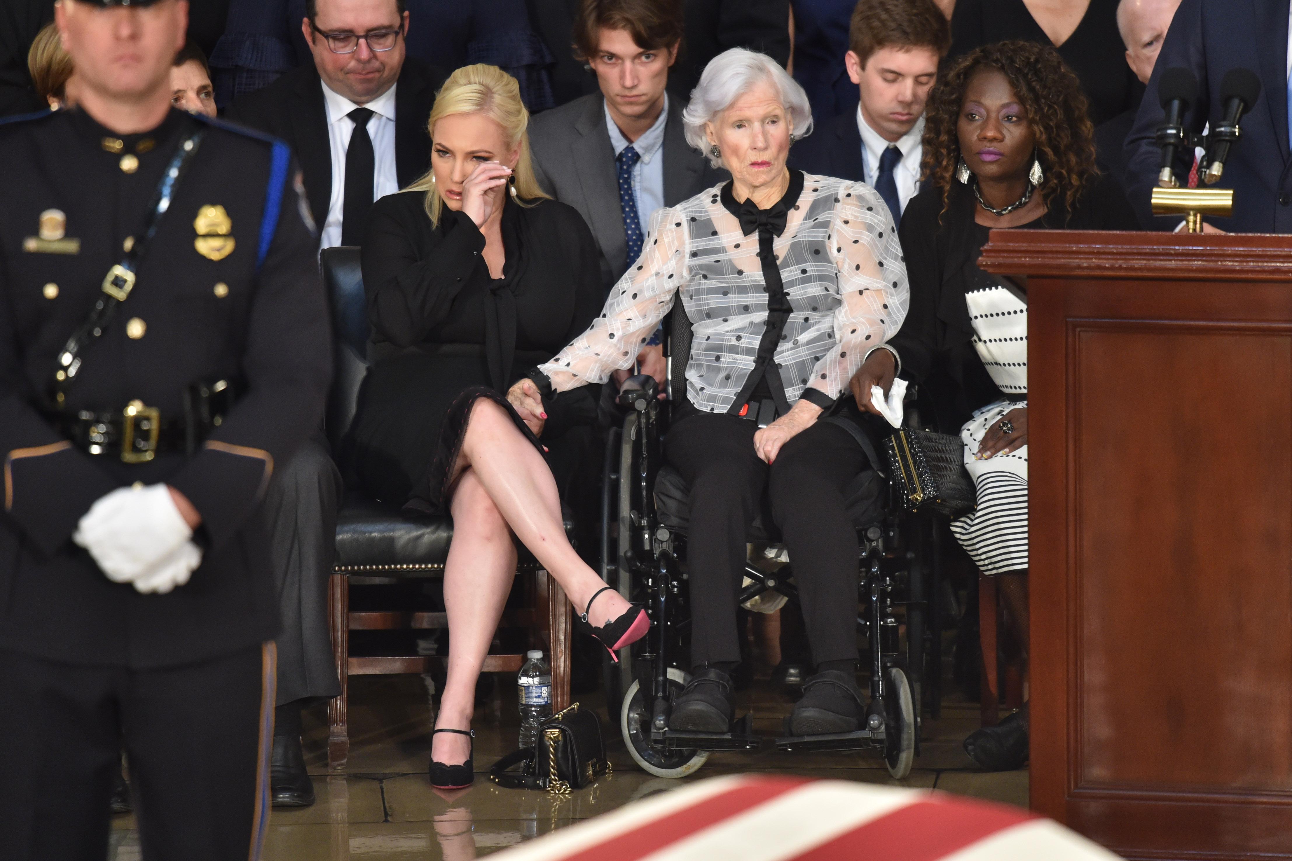 Roberta McCain, age 106, mother of the late US Senator John McCain, and granddaughter Meghan McCain attend the ceremony honoring Senator McCain at the US Capitol Rotunda on August 31, 2018 in Washington, DC.