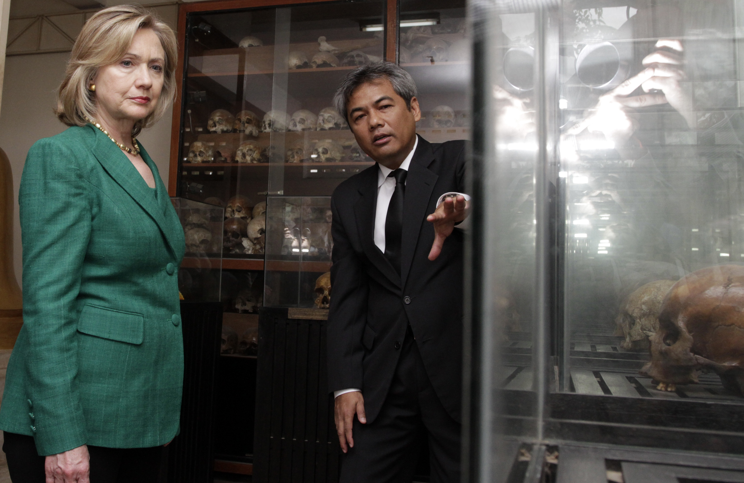 Then-Secretary of State Hillary Clinton with to Youk Chhang, the director of the Documentation Center of Cambodia, during a visit to notorious Khmer Rouge security prison Tuol Sleng (S-21) in Phnom Penh, Cambodia on Nov. 1, 2010.