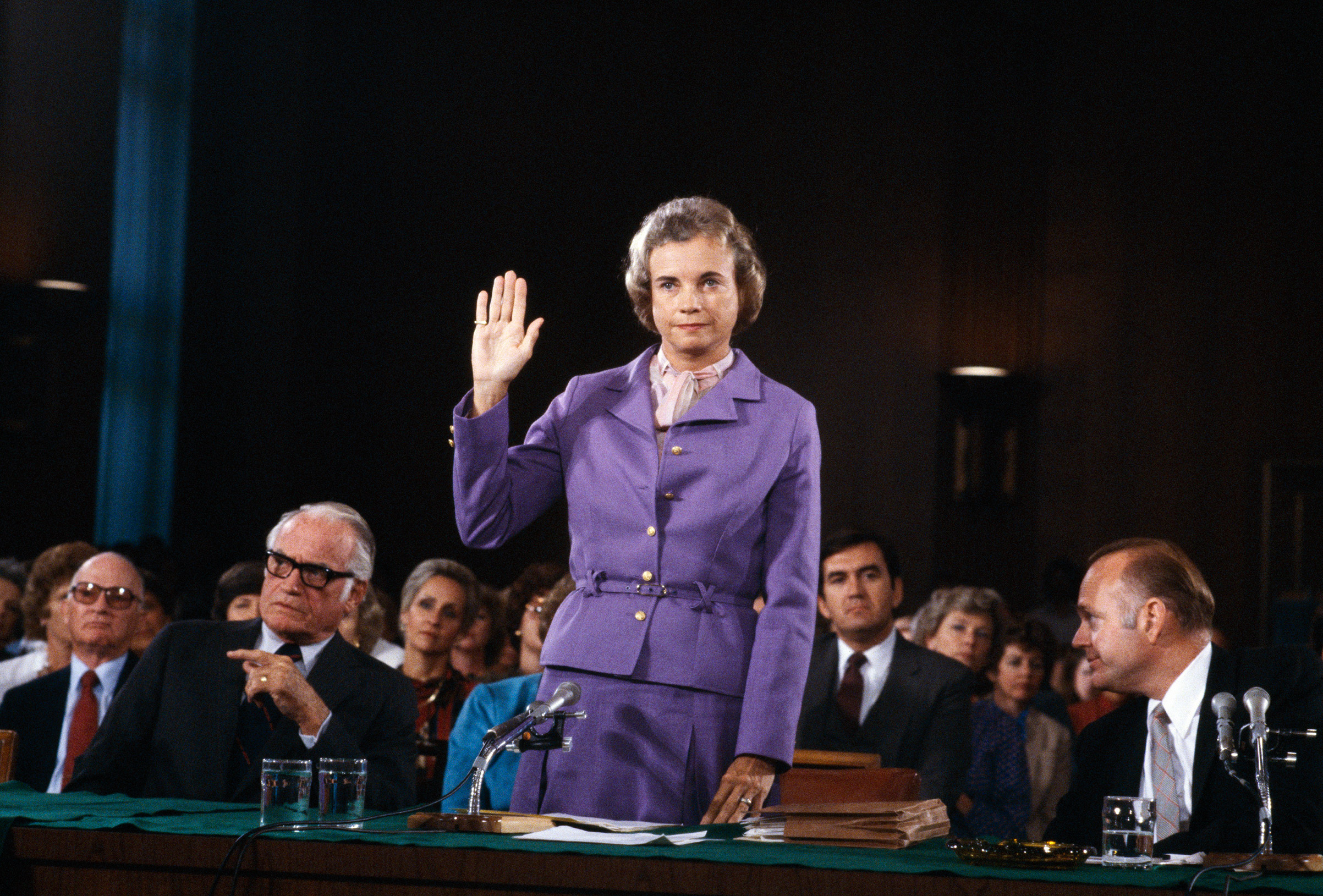 Sandra Day O'Connor is sworn in before the Senate Judiciary committee during confirmation hearings in 1981 in Washington, D.C. as she seeks to become the first female Supreme Court Justice.