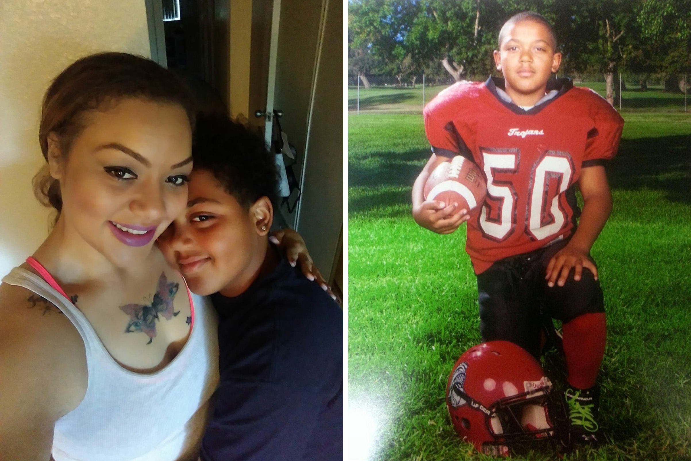 Left: Shynelle Jones and her son Jayden Galbert in the summer of 2017; Right: A portrait of Jayden Galbert when he played Pop Warner football for the Northwest Trojans.