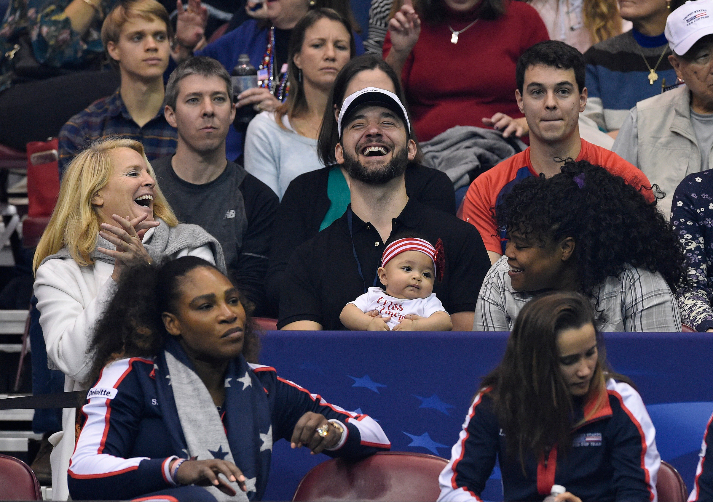 Serena's husband Ohanian, seen holding Olympia during a Fed Cup match in February, has brought their daughter to most of her mother's matches since she returned to tennis