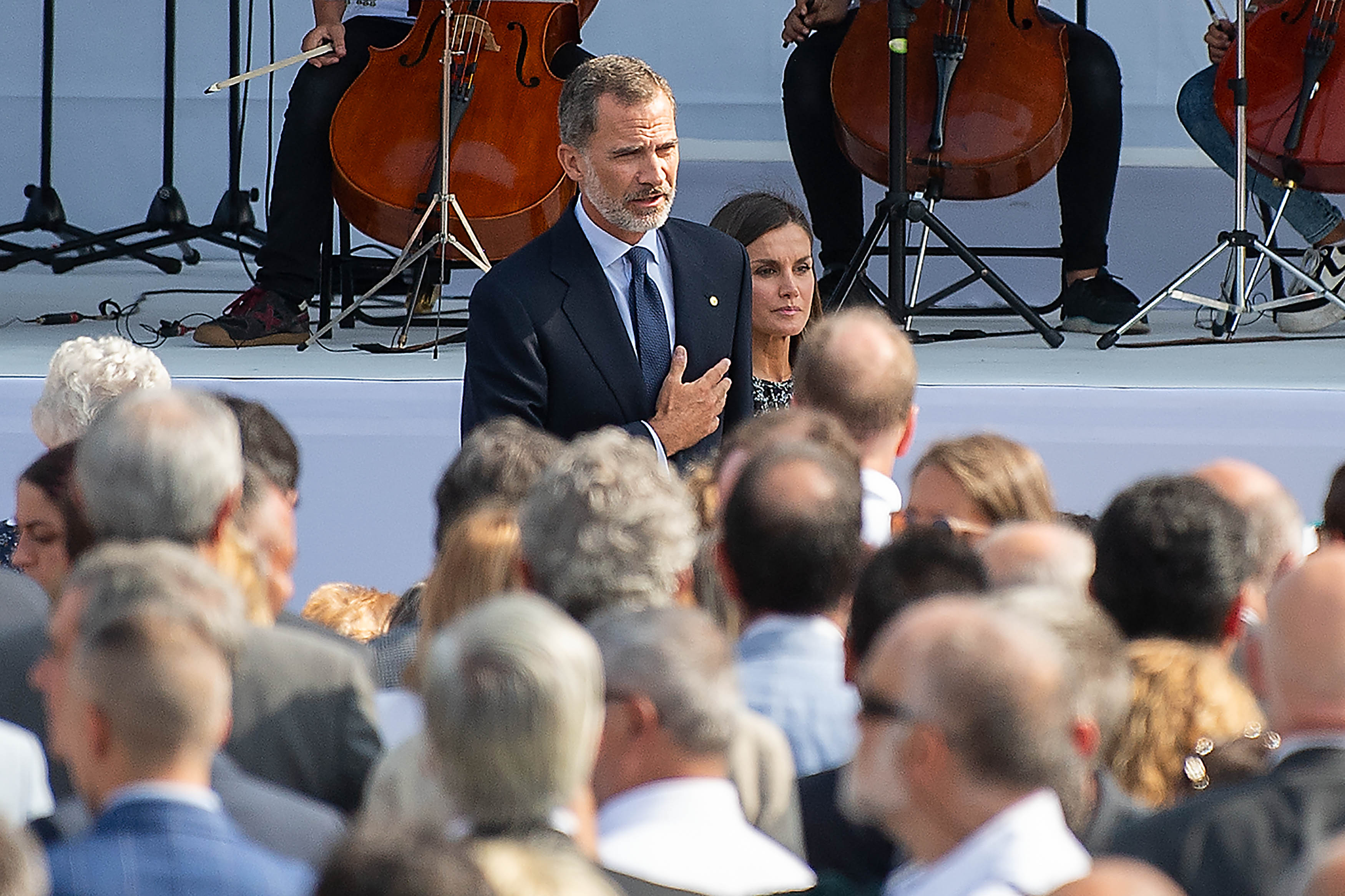 King Felipe VI of Spain and Queen Letizia of Spain arrive at a commemoration ceremony on the first anniversary of the Barcelona and Cambrils terror attacks in Barcelona, Spain on August 17, 2018.