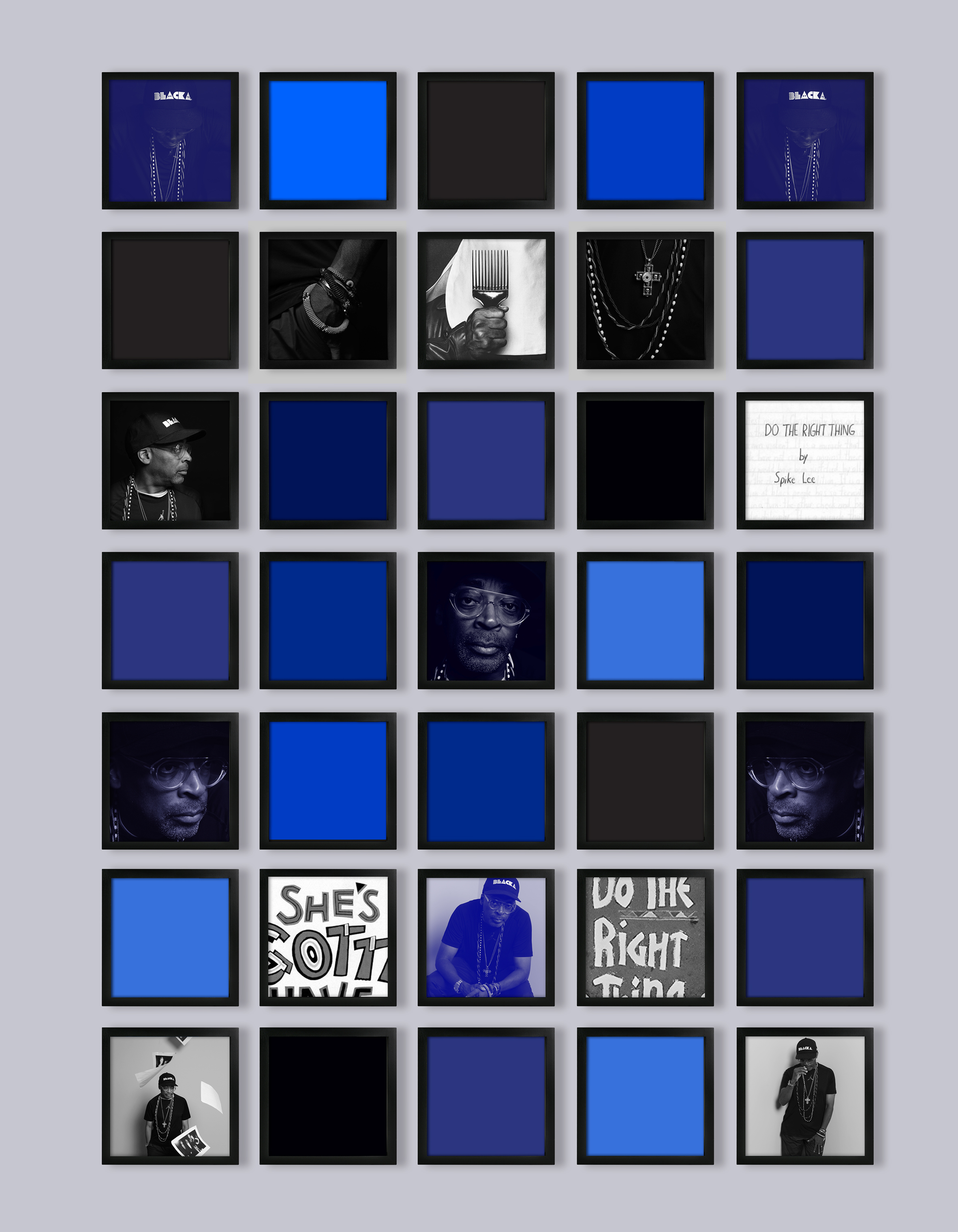 "Artist Weems created a grid to celebrate Lee's 30-year career as a filmmaker, beginning with breakouts She's Gotta Have It (1986), School Daze (1988) and Do the Right Thing (1989). He has always tackled issues of race and identity in culture: ""One of the constant criticisms for Do the Right Thing was that Spike would not provide the answers for racism,"" Lee says."