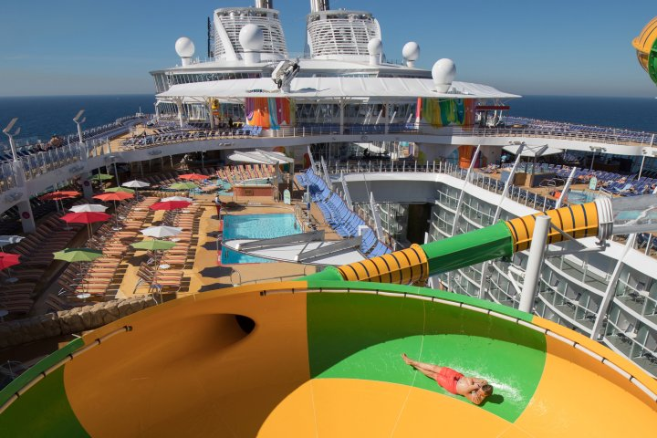 A water slide on the Royal Caribbean Symphony of the Seas ship