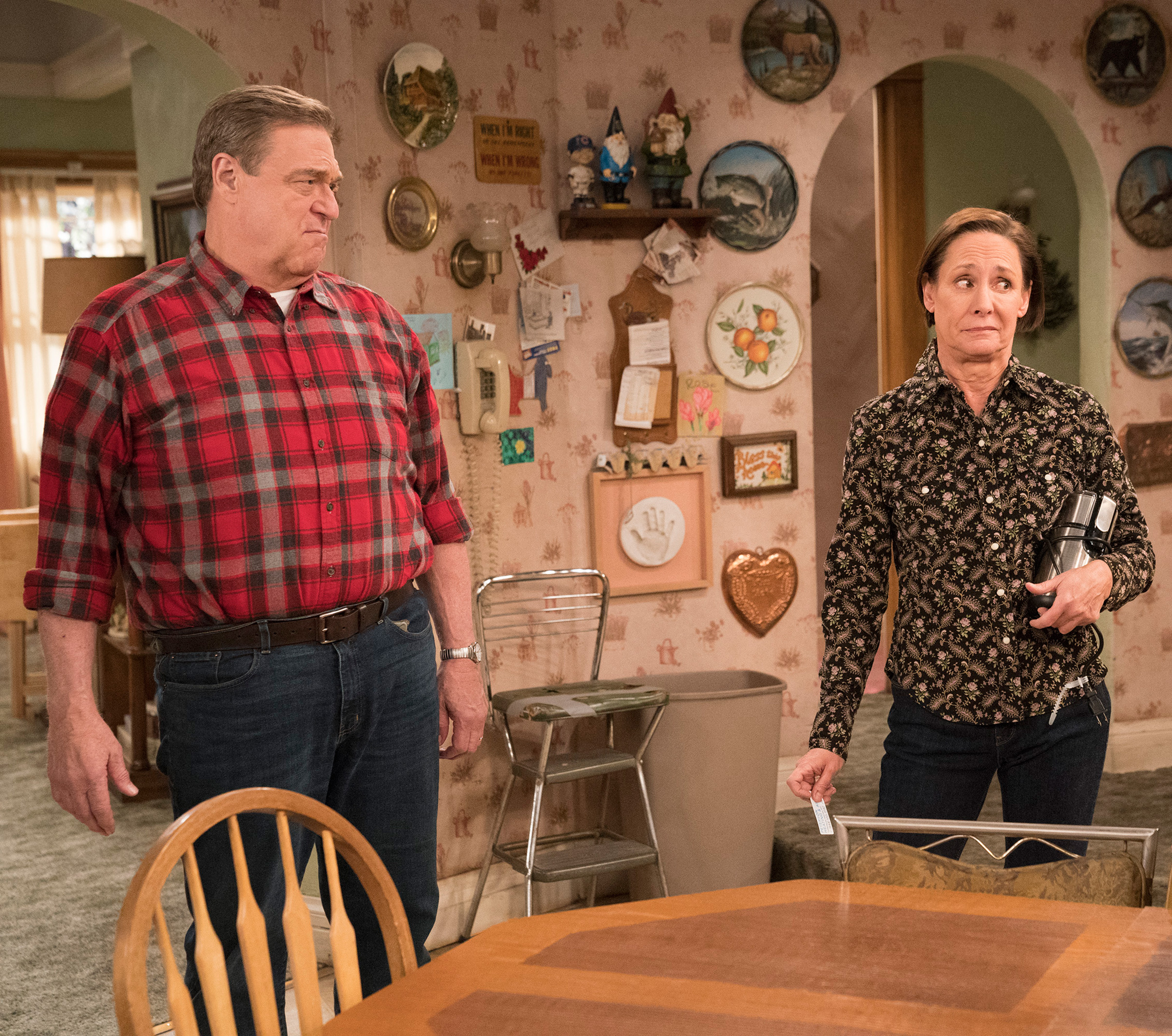 John Goodman (left) as Dan and Laurie Metcalf (right) as Jackie, in the episode  No Country for Old Women  of Roseanne will reprise their roles in The Conners this fall.