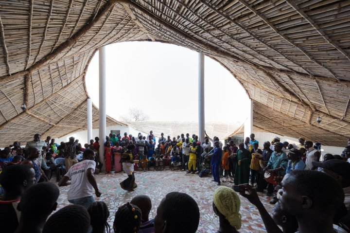 People gather at the Thread, an art collective in Senegal