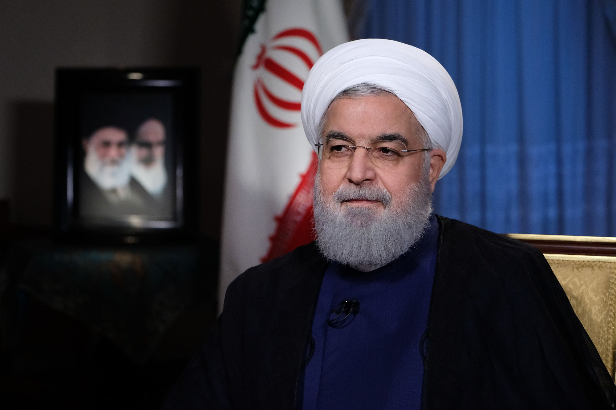 A handout picture made available by the presidential office shows, Iranian President Hassan Rouhani during a live TV interview in Tehran, Iran on Aug. 6, 2018.