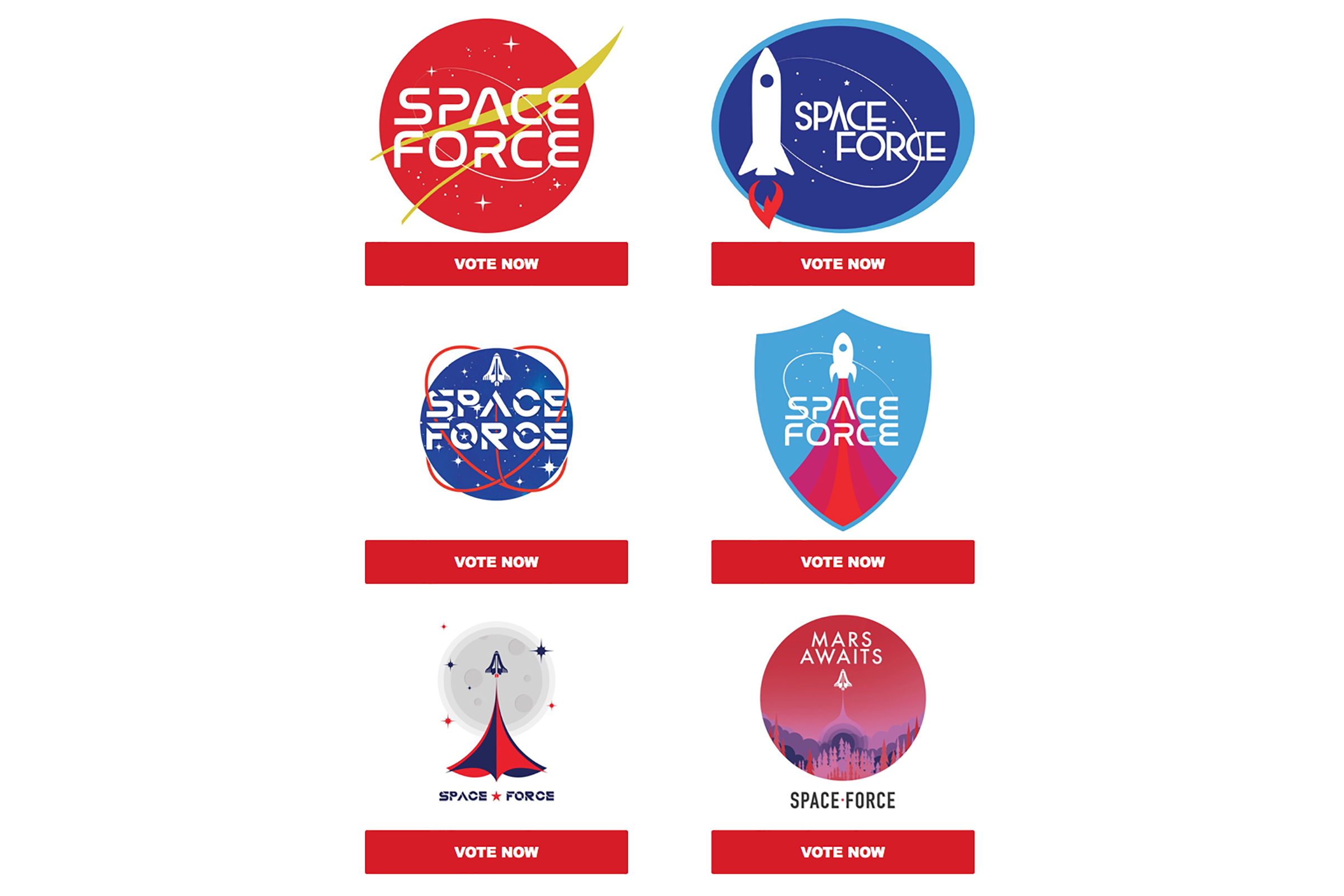 A screenshot from an email from the Donald J. Trump for President, 2020 campaign office asking supporters to vote for a 'Space Force' logo.
