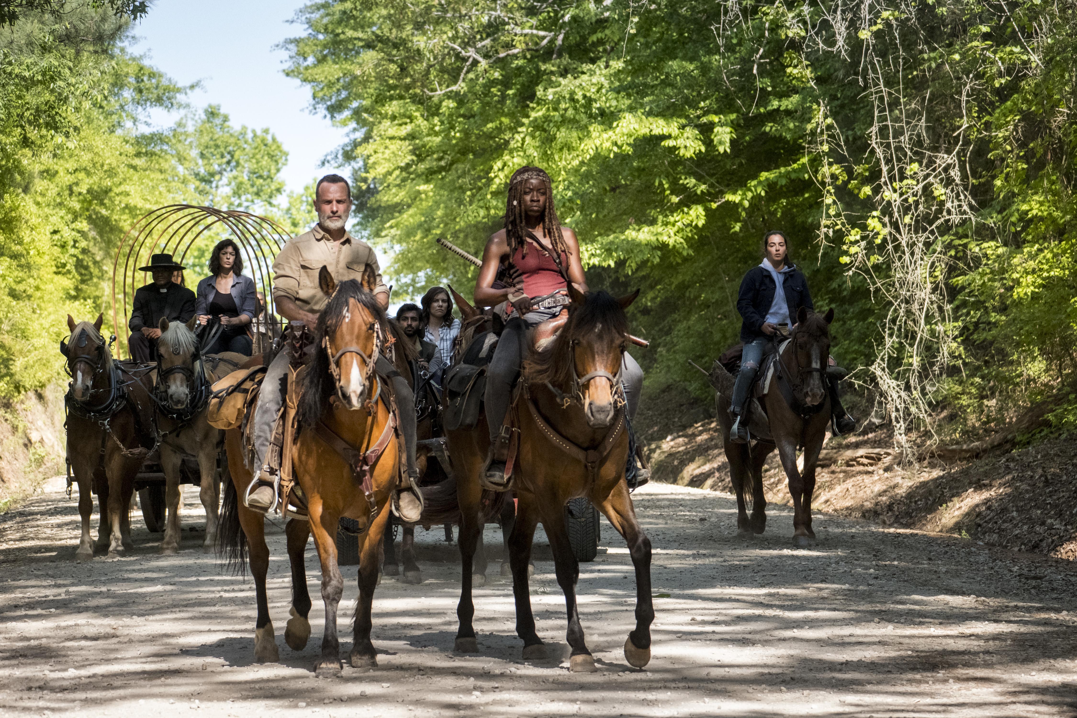 Seth Gilliam, Pollyanna McIntosh, Andrew Lincoln, Danai Gurira and Alanna Masterson in The Walking Dead