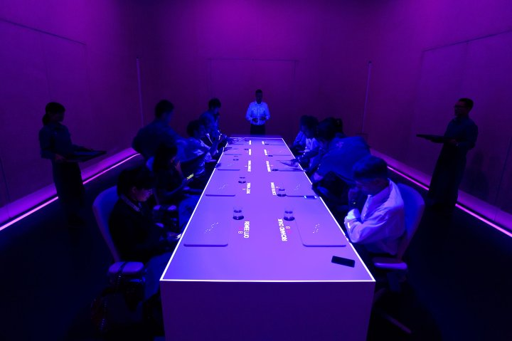 The names of diners are projected onto the table at Ultraviolet, a 10-seat luxury restaurant in Shanghai