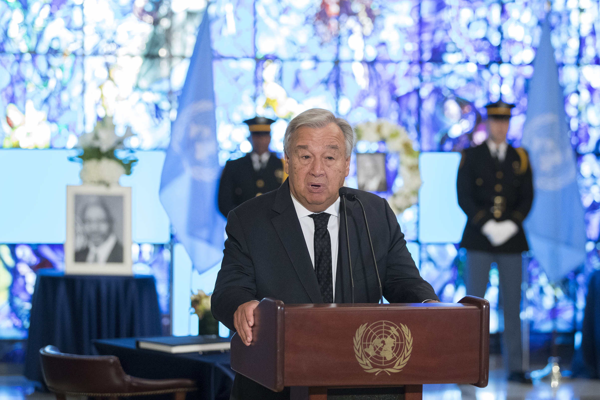 United Nations Secretary-General Antonio Guterres delivers his remarks after signing a book of condolences in memory of the late former Secretary-General Kofi Annan, on Aug 22, 2018 at the UN headquarters in New York.