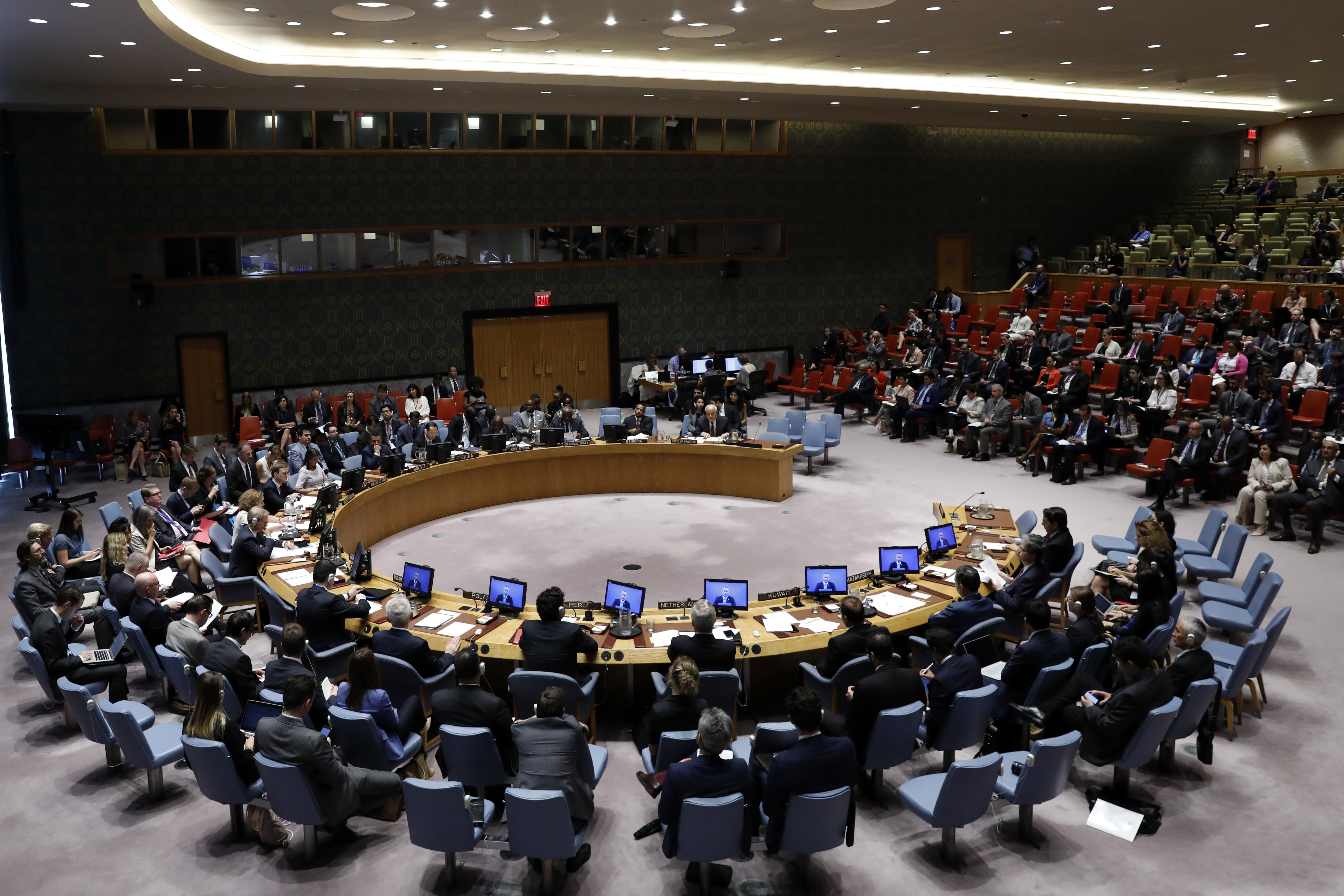 Photo taken on July 24, 2018 shows a general view of a United Nations Security Council meeting at the UN headquarters in New York, July 24, 2018.