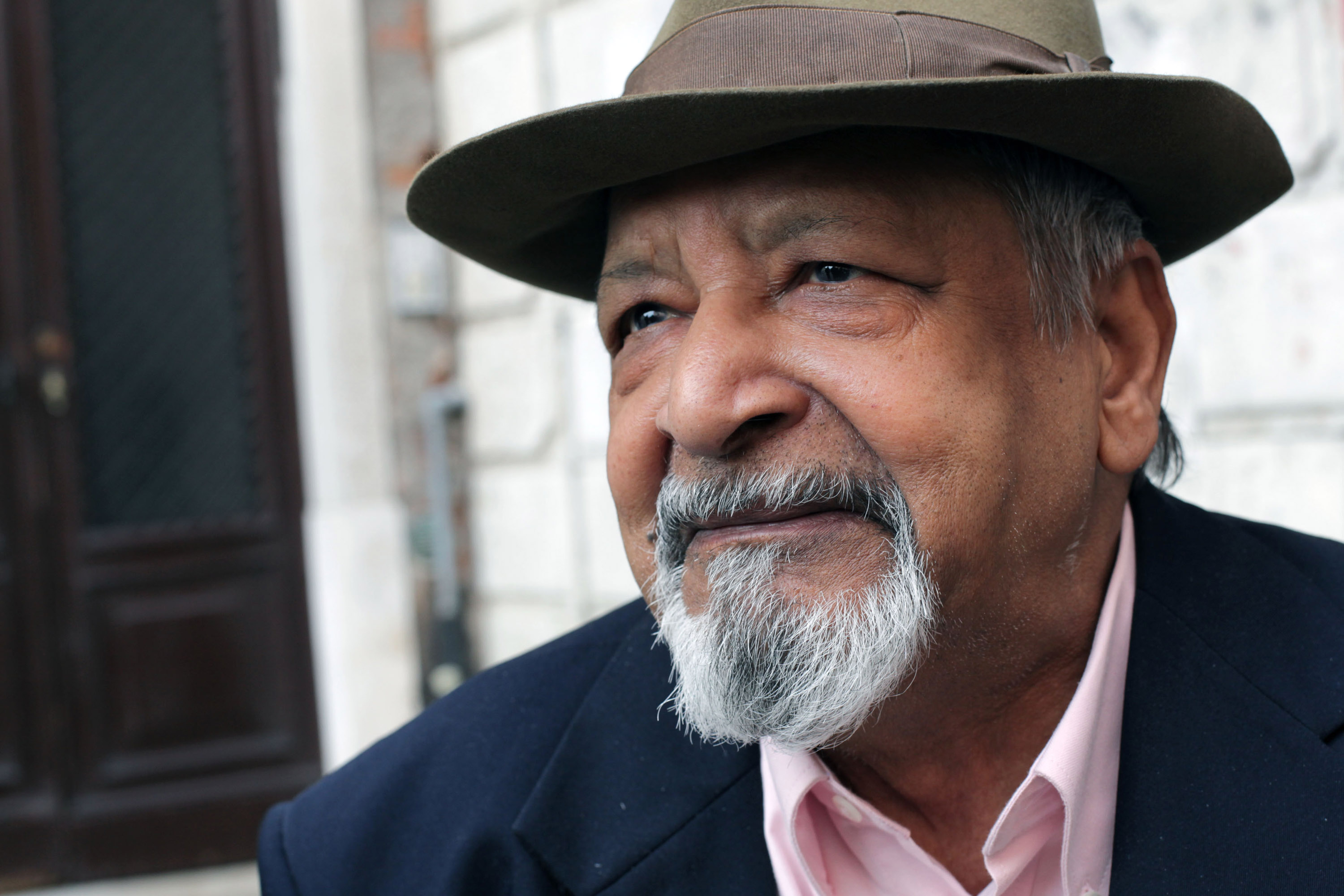 Trinidadian-British writer and 2001 Nobel Prize winner Sir Vidiadhar Surajprasad Naipaul poses for a portrait session during 'Incroci di Civilta', Venice Literary Festival on April 14, 2011 in Venice, Italy.