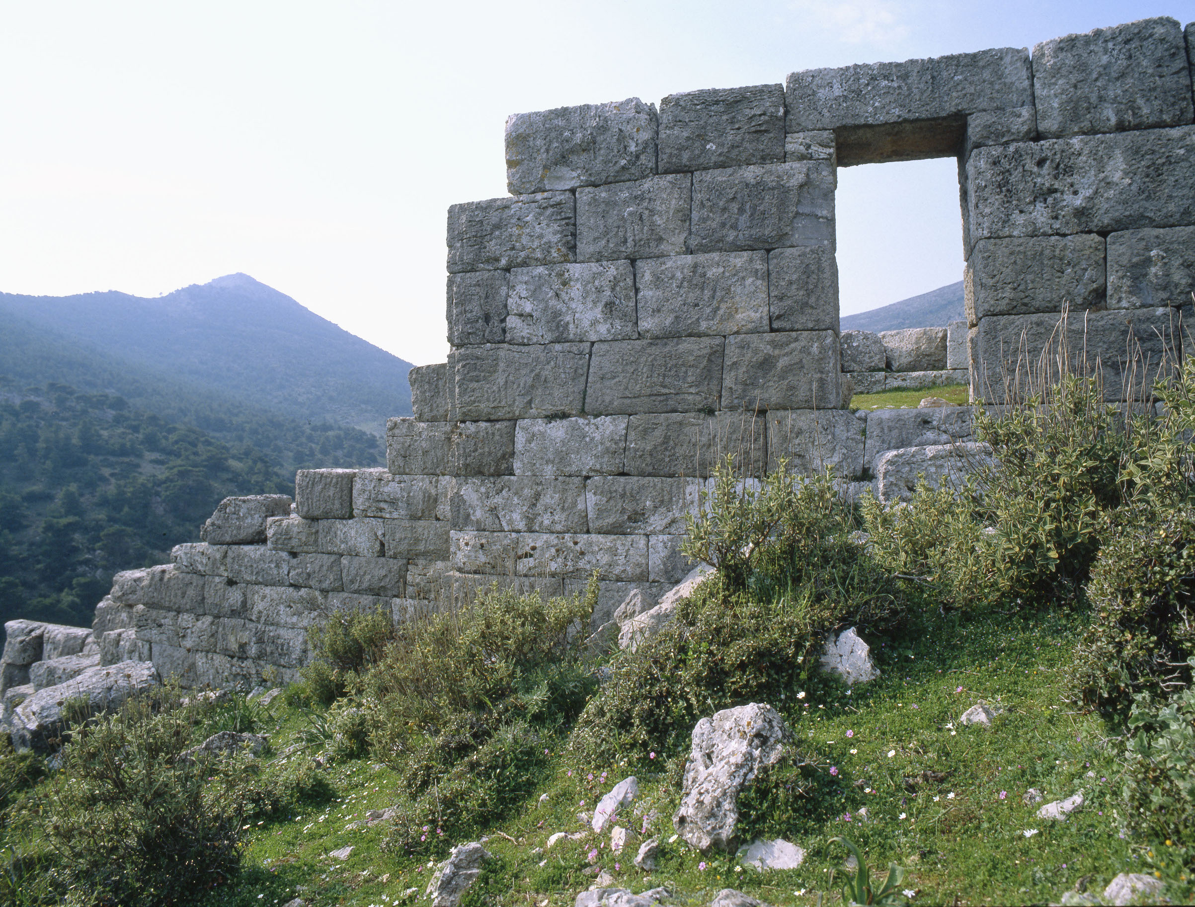 View of the ancient fortification wall of the fort at Phyle, north-west of Athens, photographed in 1980.