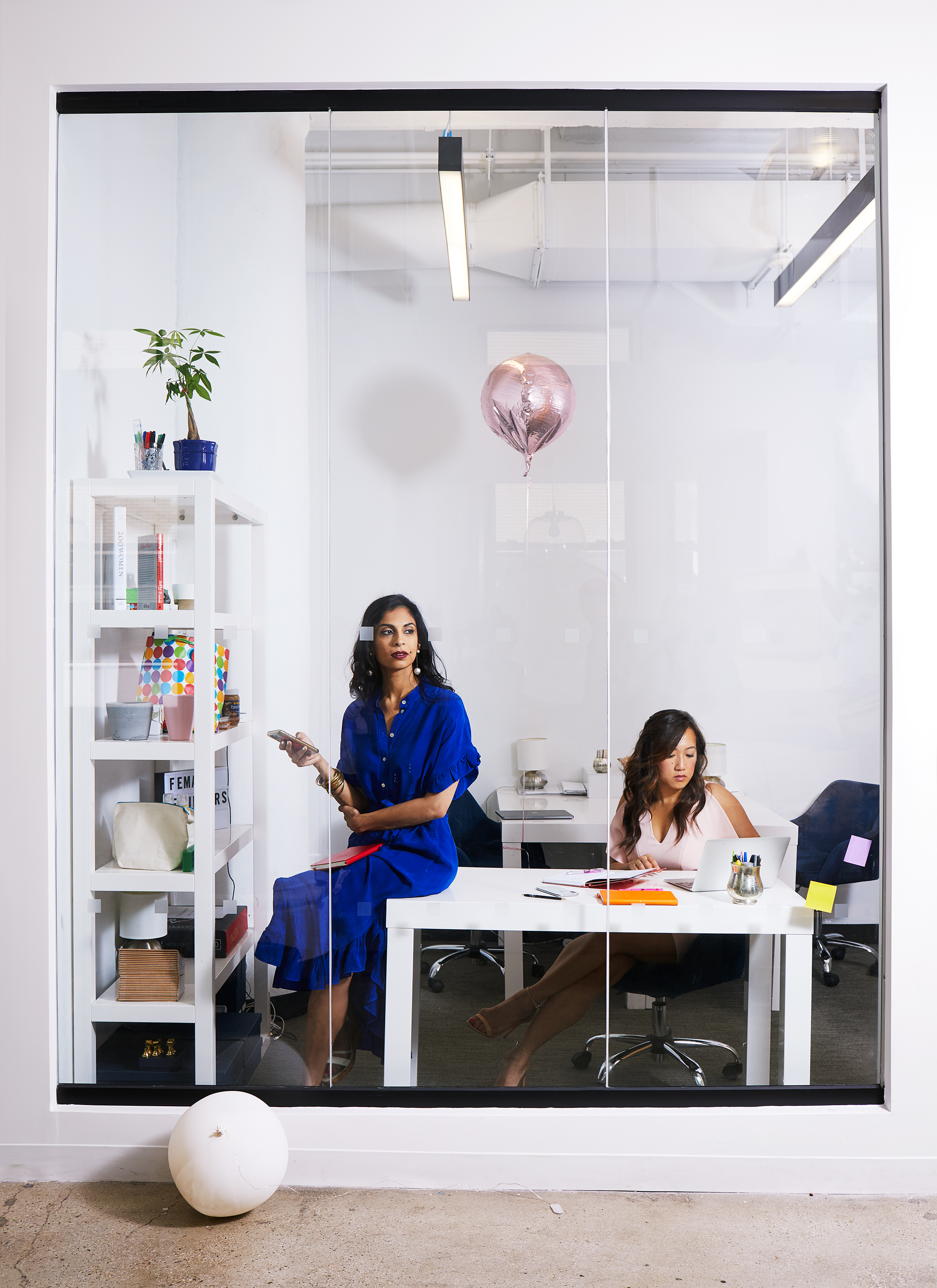 Anu Duggal and Sutian Dong, partners behind the Female Founders Fund, in their office in a hip co-working space in New York City.