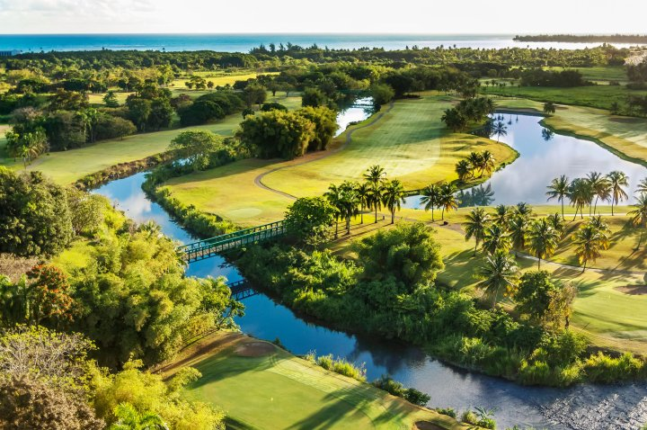 A overhead view of the golf course at Wyndham Grand Rio Mar
