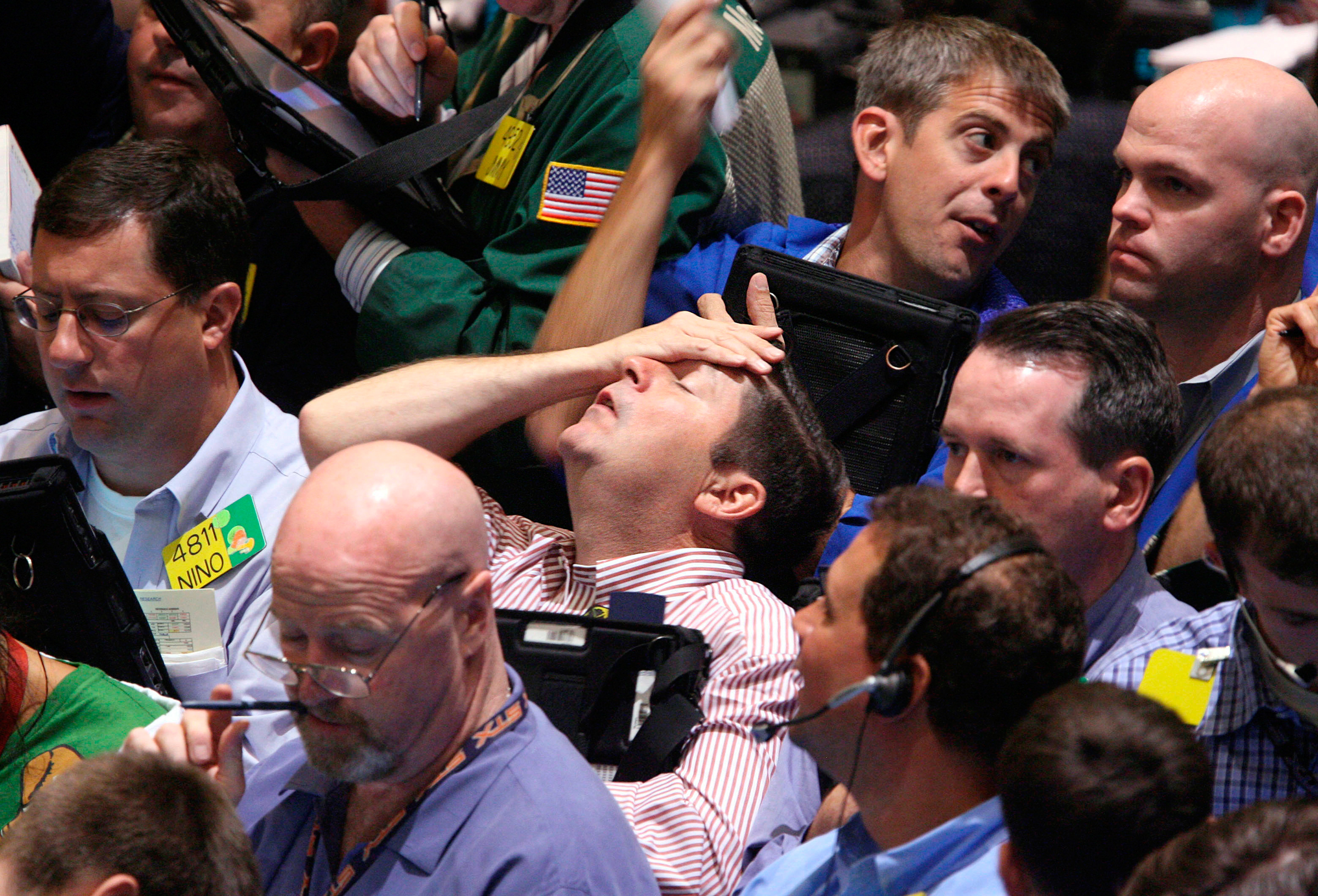 Traders at the New York Mercantile Exchange                     on Sept. 16, 2008.