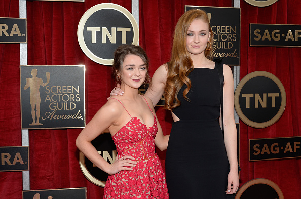Actors Maisie Williams and Sophie Turner attend the 21st Annual Screen Actors Guild Awards at The Shrine Auditorium on January 25, 2015 in Los Angeles, California.