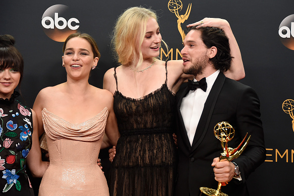 Actors Maisie Williams, Emilia Clarke, Sophie Turner and Kit Harington, winners of Best Drama Series for 'Game of Thrones,' pose in the press room during the 68th Annual Primetime Emmy Awards at Microsoft Theater on September 18, 2016 in Los Angeles, California.
