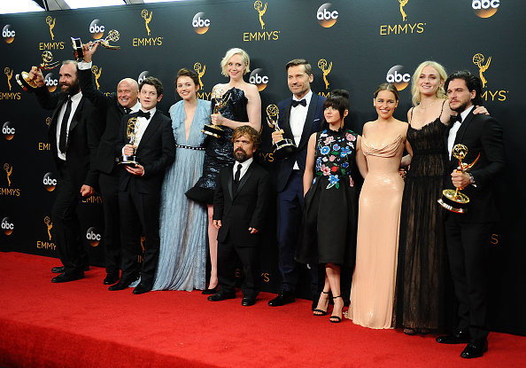 Actors Rory McCann, Conleth Hill, Iwan Rheon, Gwendoline Christie, Peter Dinklage, Nikolaj Coster-Waldau, Maisie Williams, Emilia Clarke, Sophie Turner and Kit Harington, winners of Best Drama Series for 'Game of Thrones', pose in the press room at the 68th annual Primetime Emmy Awards at Microsoft Theater on September 18, 2016 in Los Angeles, California.