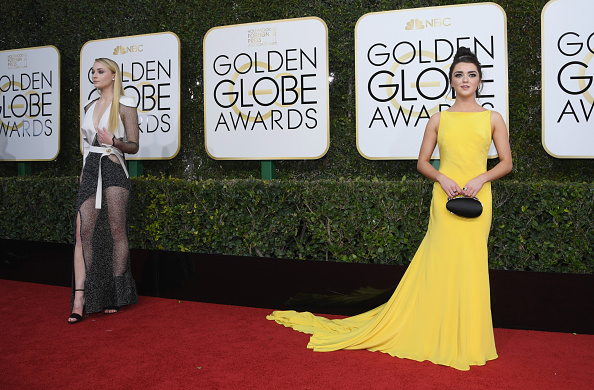 Actors Sophie Turner and Maisie Williams arrive to the 74th Annual Golden Globe Awards held at the Beverly Hilton Hotel on January 8, 2017.