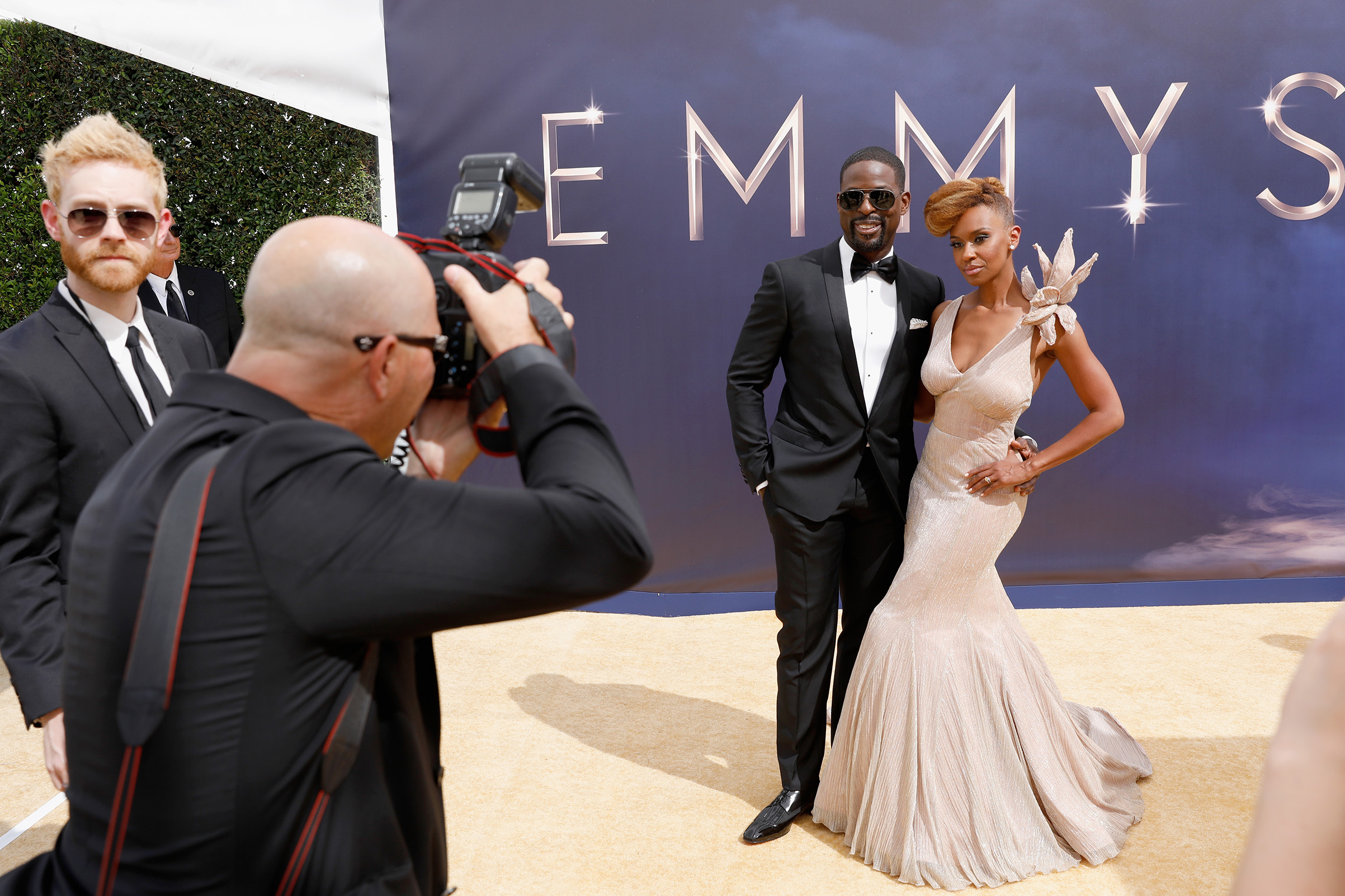 Actors Sterling K. Brown and Ryan Michelle Bathe arrives at the 70th Annual Primetime Emmy Awards on Sept. 17.