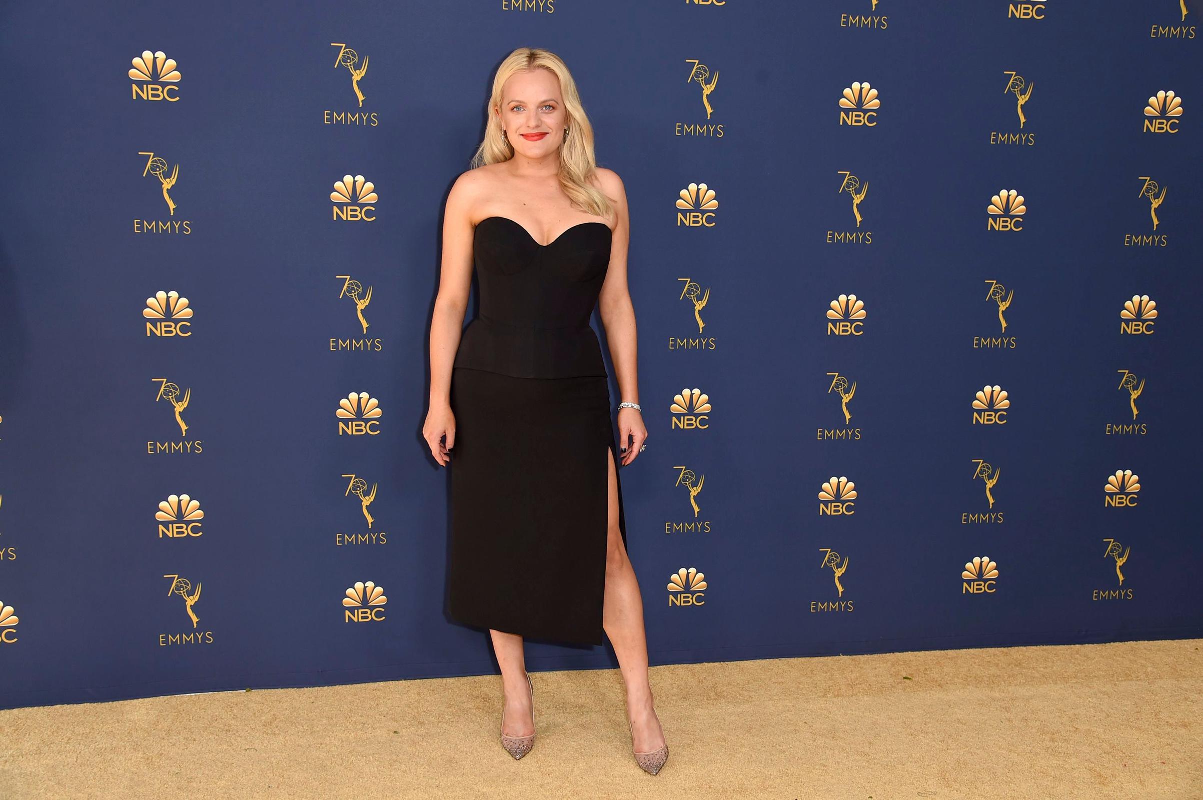 Elisabeth Moss arrives at the 70th Primetime Emmy Awards on Sept. 17.