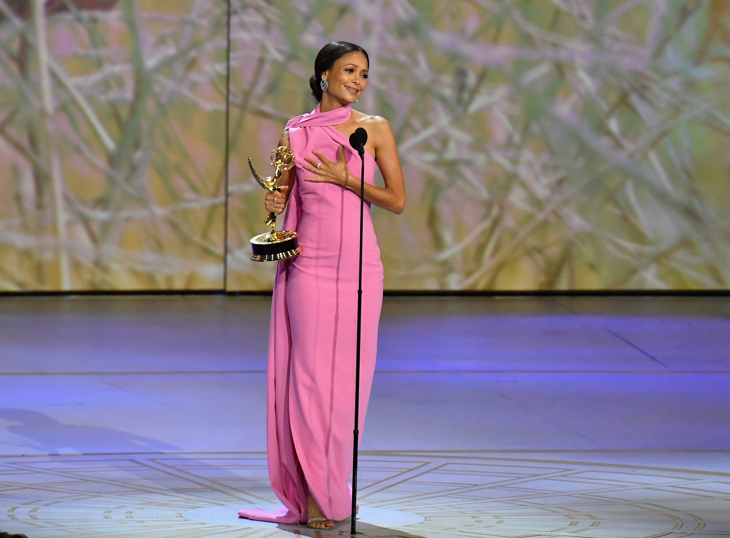 Thandie Newton accepts the award for Outstanding Supporting Actress in a Drama Series 'Westworld' onstage during the 70th Emmy Awards at Microsoft Theater on Sept. 17, 2018 in Los Angeles.
