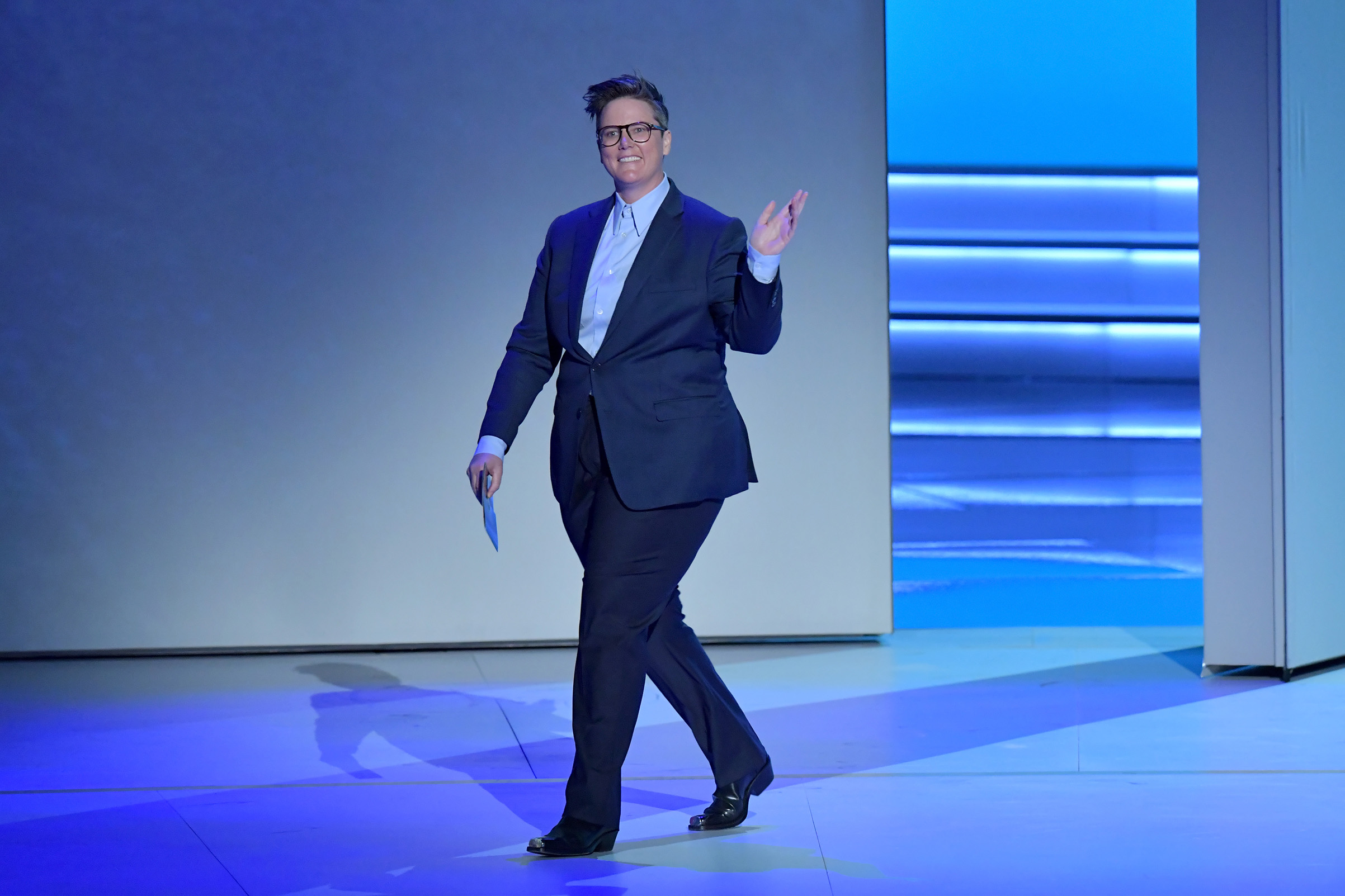 Hannah Gadsby speaks onstage during the 70th Emmy Awards at Microsoft Theater on Sept. 17, 2018 in Los Angeles.