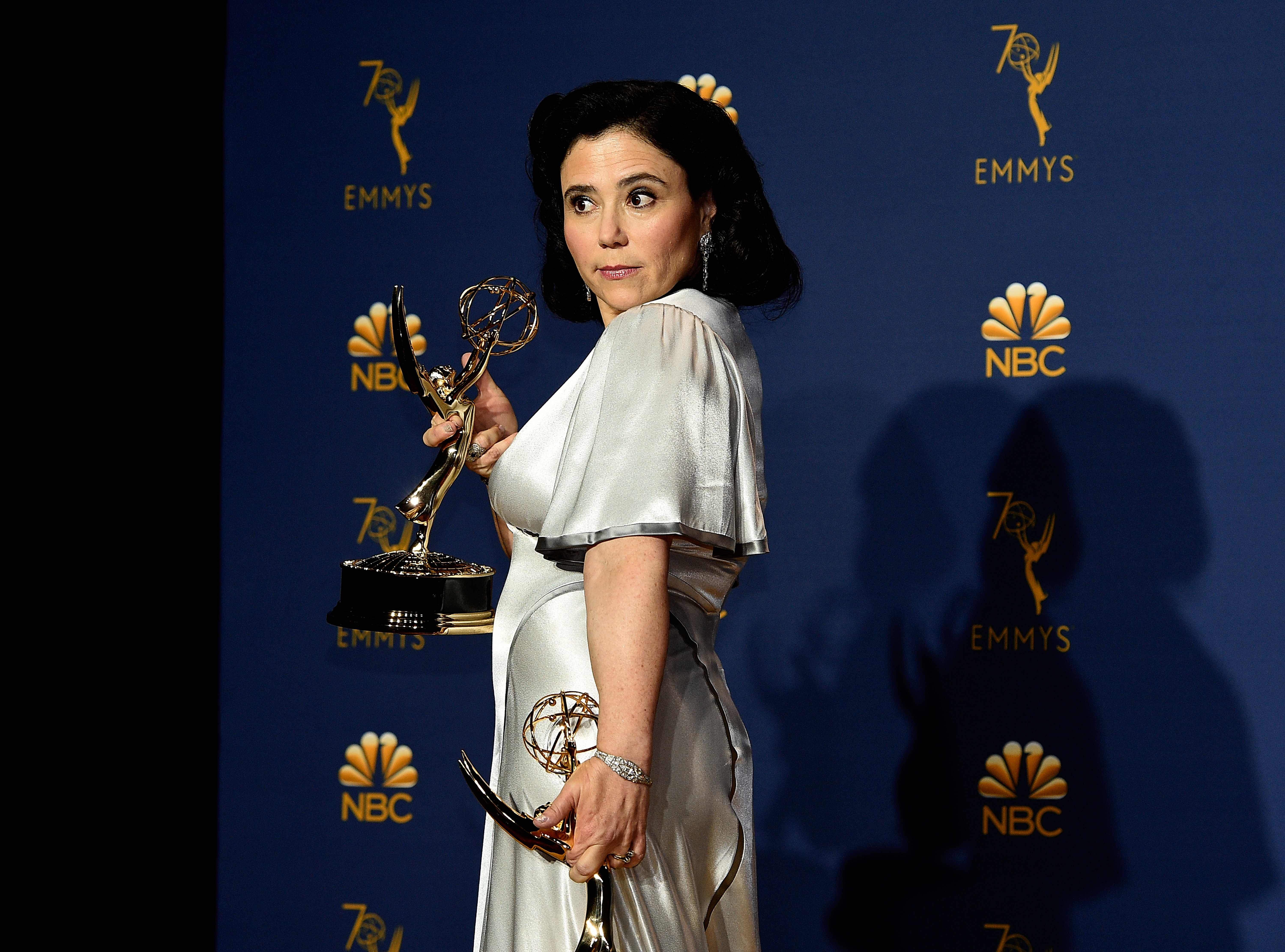 Actor Alex Borstein poses with the Outstanding Supporting Actress in a Comedy Series award for 'The Marvelous Mrs. Maisel' at the Microsoft Theater on September 17, 2018.