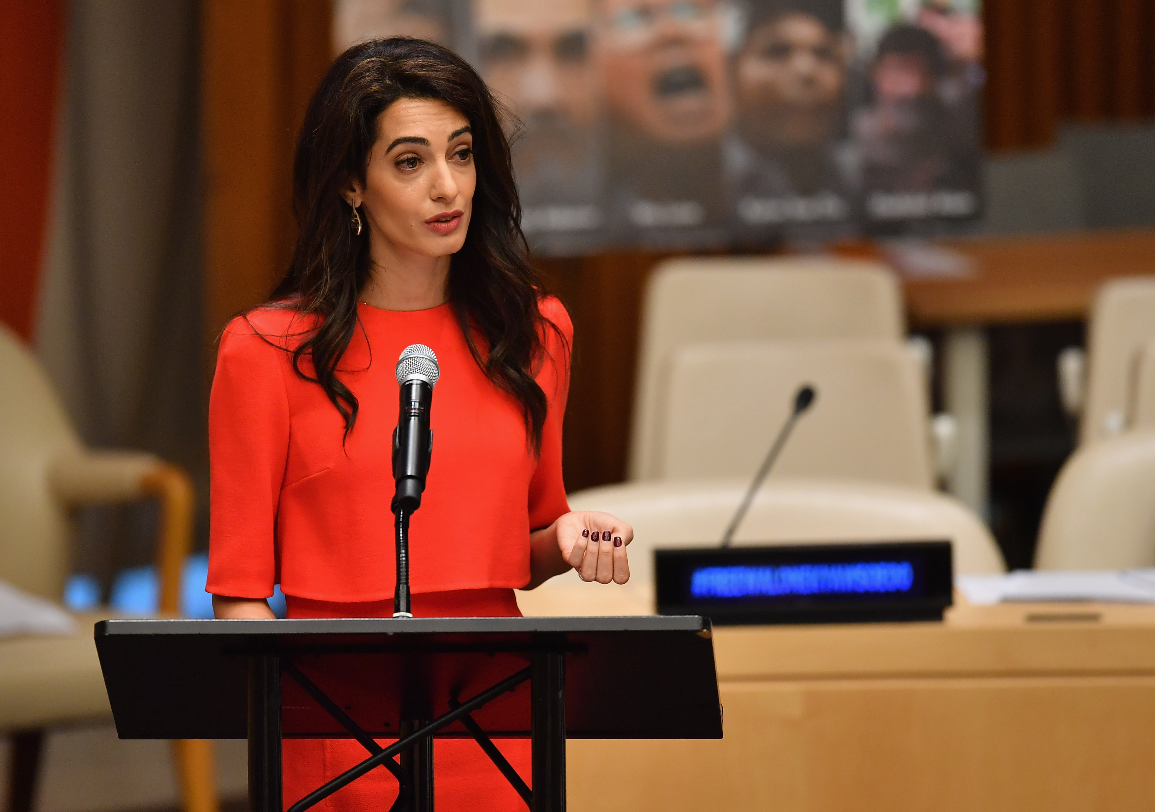 Amal Clooney speaks about journalists imprisoned in Myanmar at the Press Behind Bars: Undermining Justice and Democracy event during the 73rd session of the United Nations General Assembly at the United Nations in New York on Sept. 28, 2018.