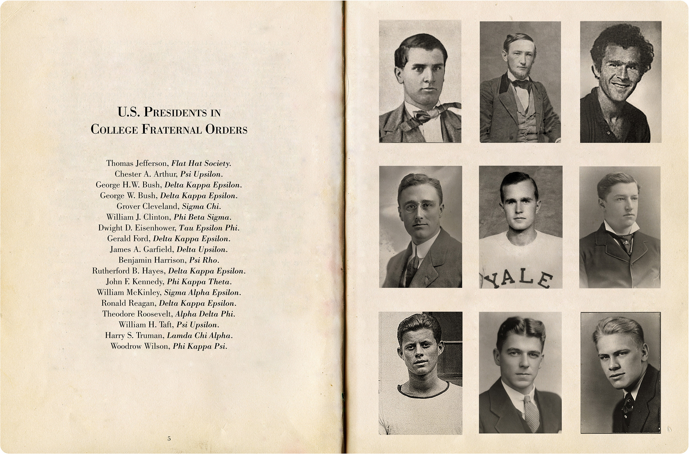 U.S. Presidents, from inside the book 'The American Fraternity.'