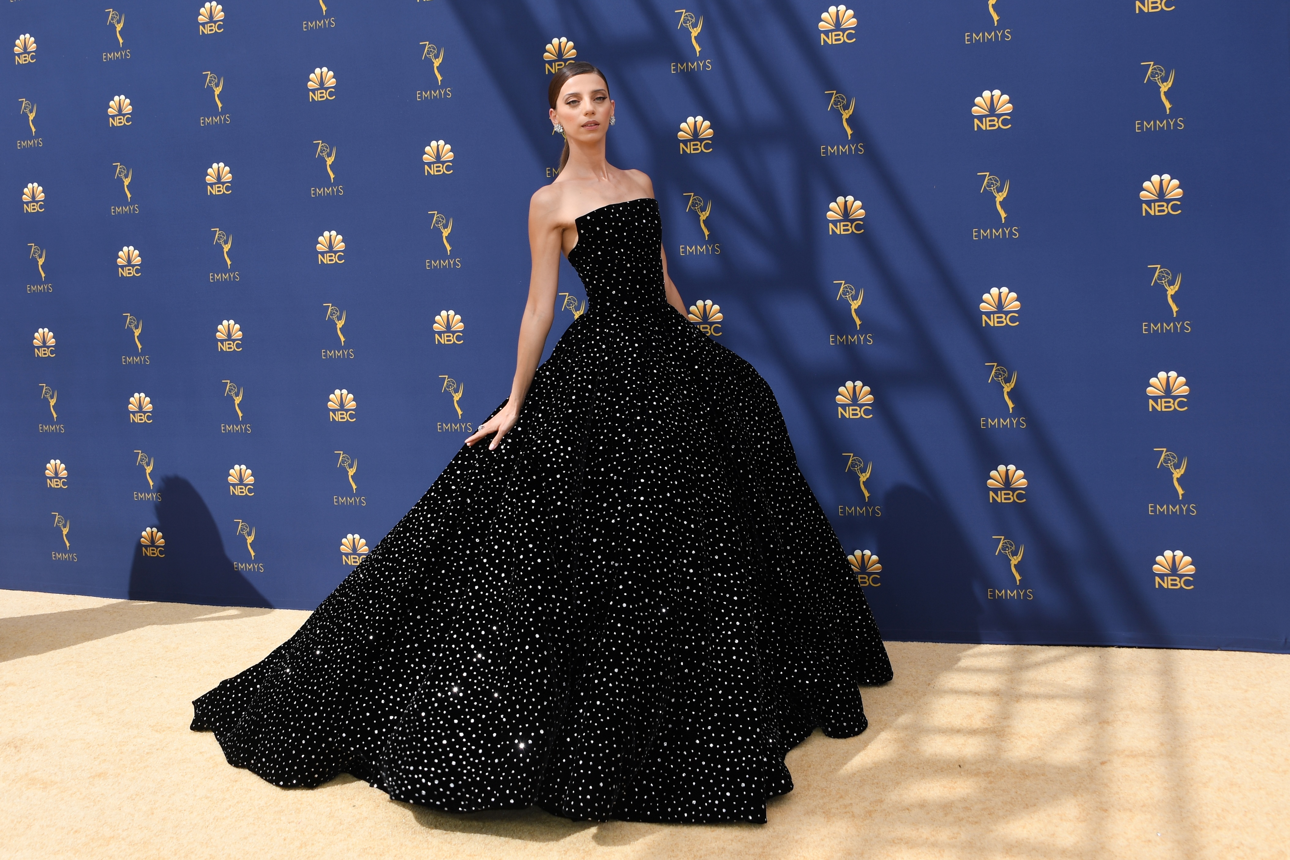 Angela Sarafyan arrives at the 70th Emmy Awards at the Microsoft Theatre in Los Angeles on Sept. 17.