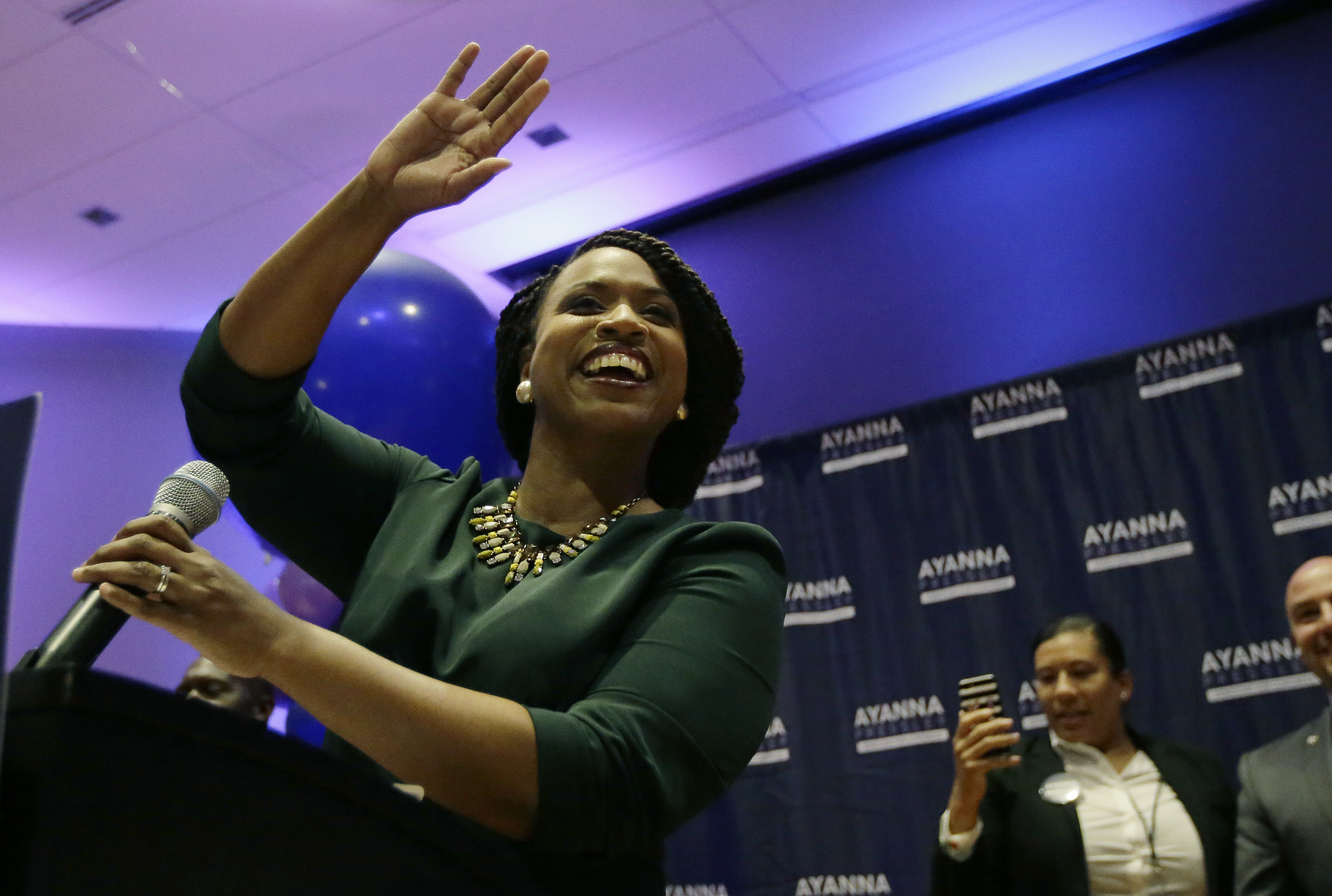 Ayanna Pressley celebrates her victory in the Congressional House Democratic primary in Boston, Mass. on Sept. 4, 2018.