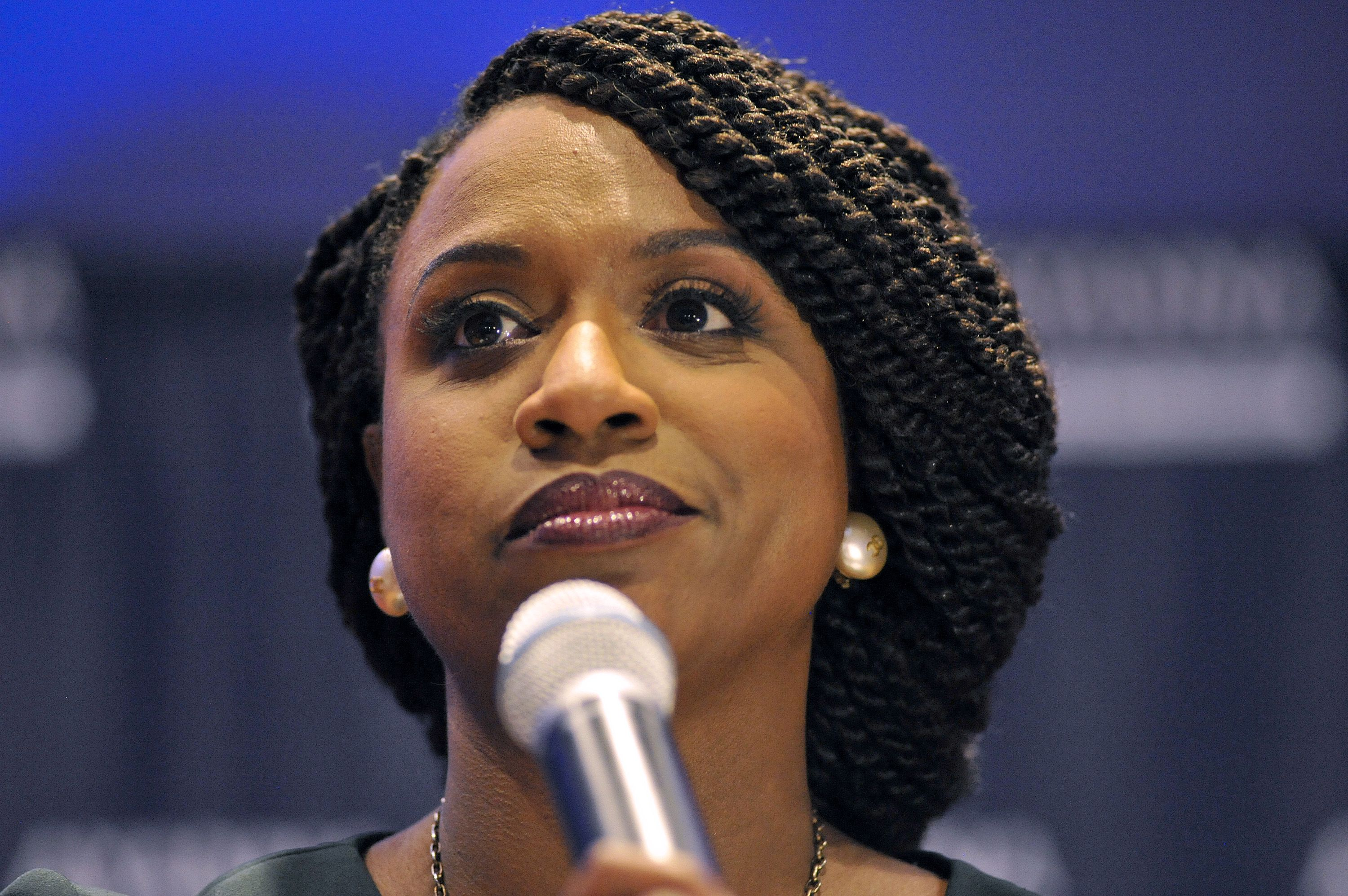 Ayanna Pressley, Boston City Council member and Democratic candidate for congress, delivers her victory speech on September 4, 2018.