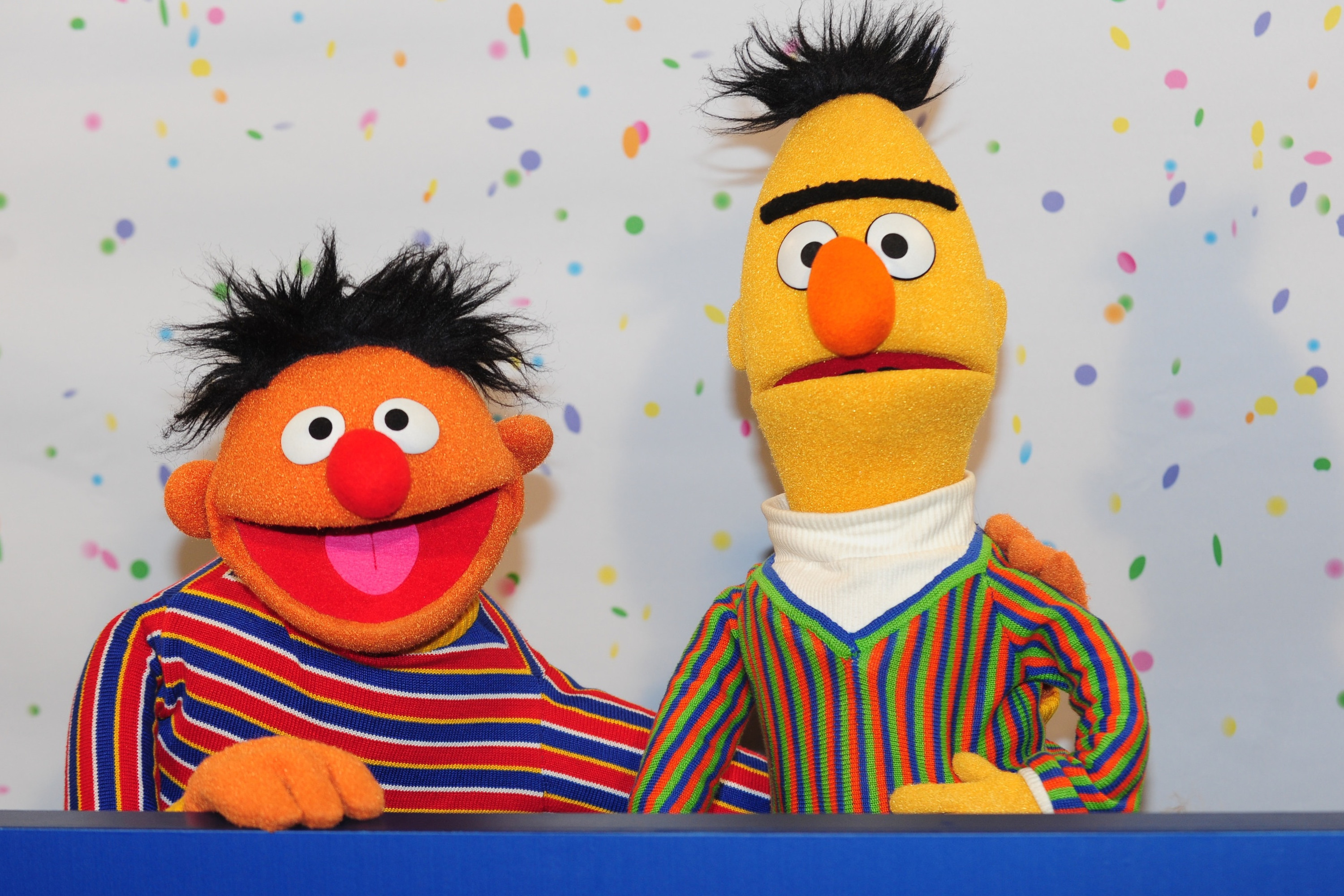 Sesame Street Muppets Ernie and Bert pose for photographs during a press conference on the 40th anniversary of the Sesame Street in Hamburg, Germany, 07 January 2013.