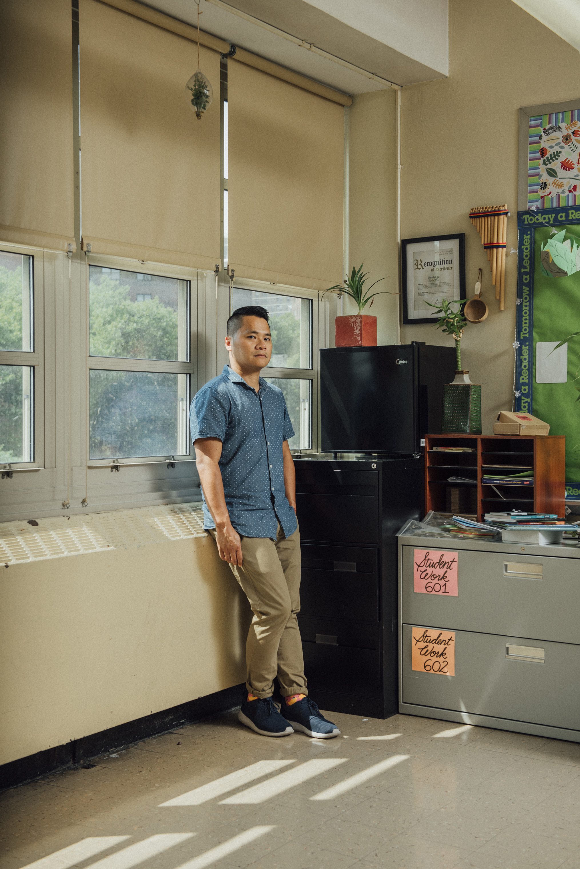 Humanities teacher Binh Thai in his classroom at University Neighborhood Middle School in New York City on Aug. 16.