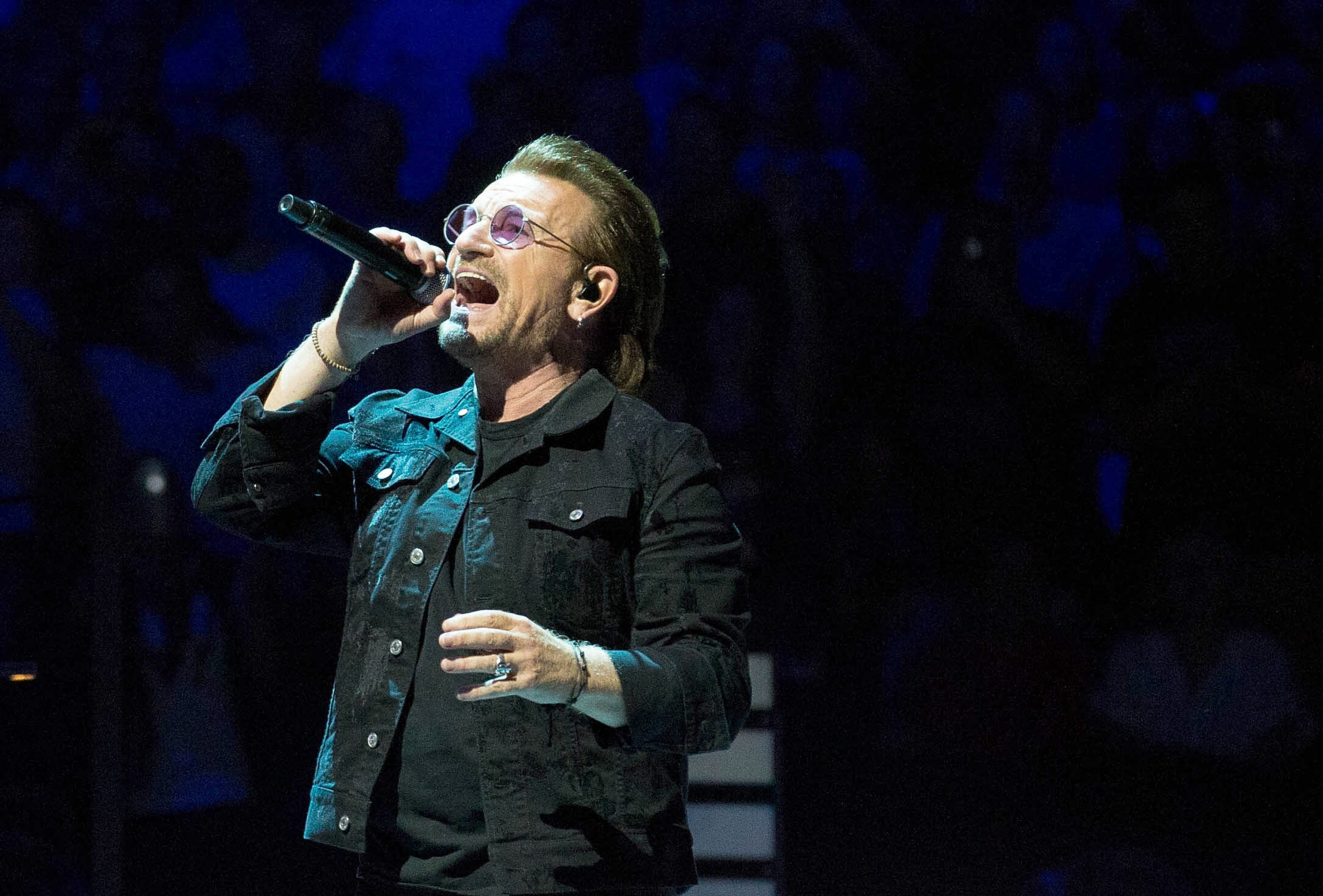 Bono of U2 performs onstage during the eXPERIENCE + iNNOCENCE TOUR at Prudential Center on June 29, 2018 in Newark, New Jersey.