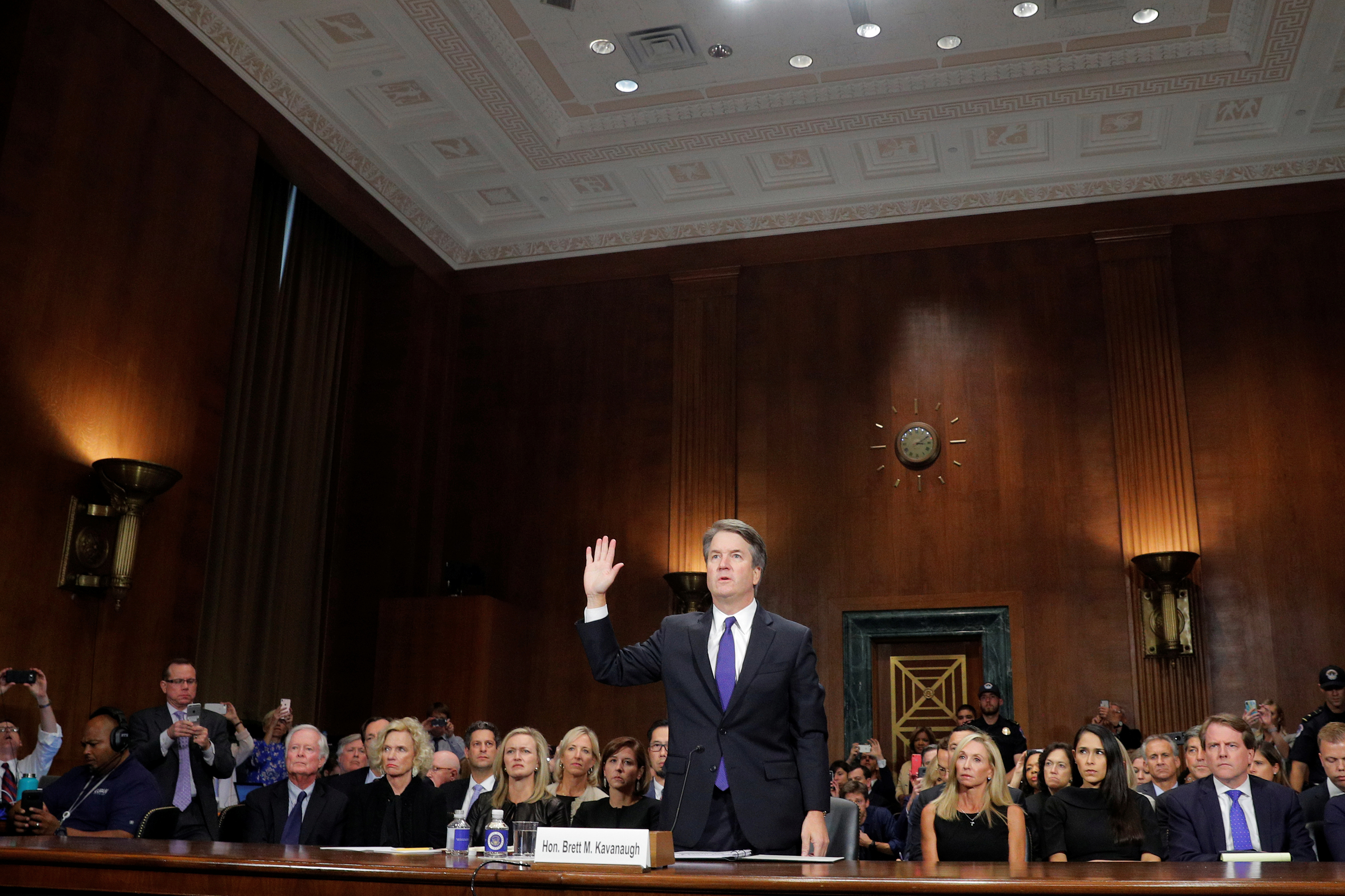 Judge Brett Kavanaugh is sworn in to testify before the Senate Judiciary Committee on Sept. 27.
