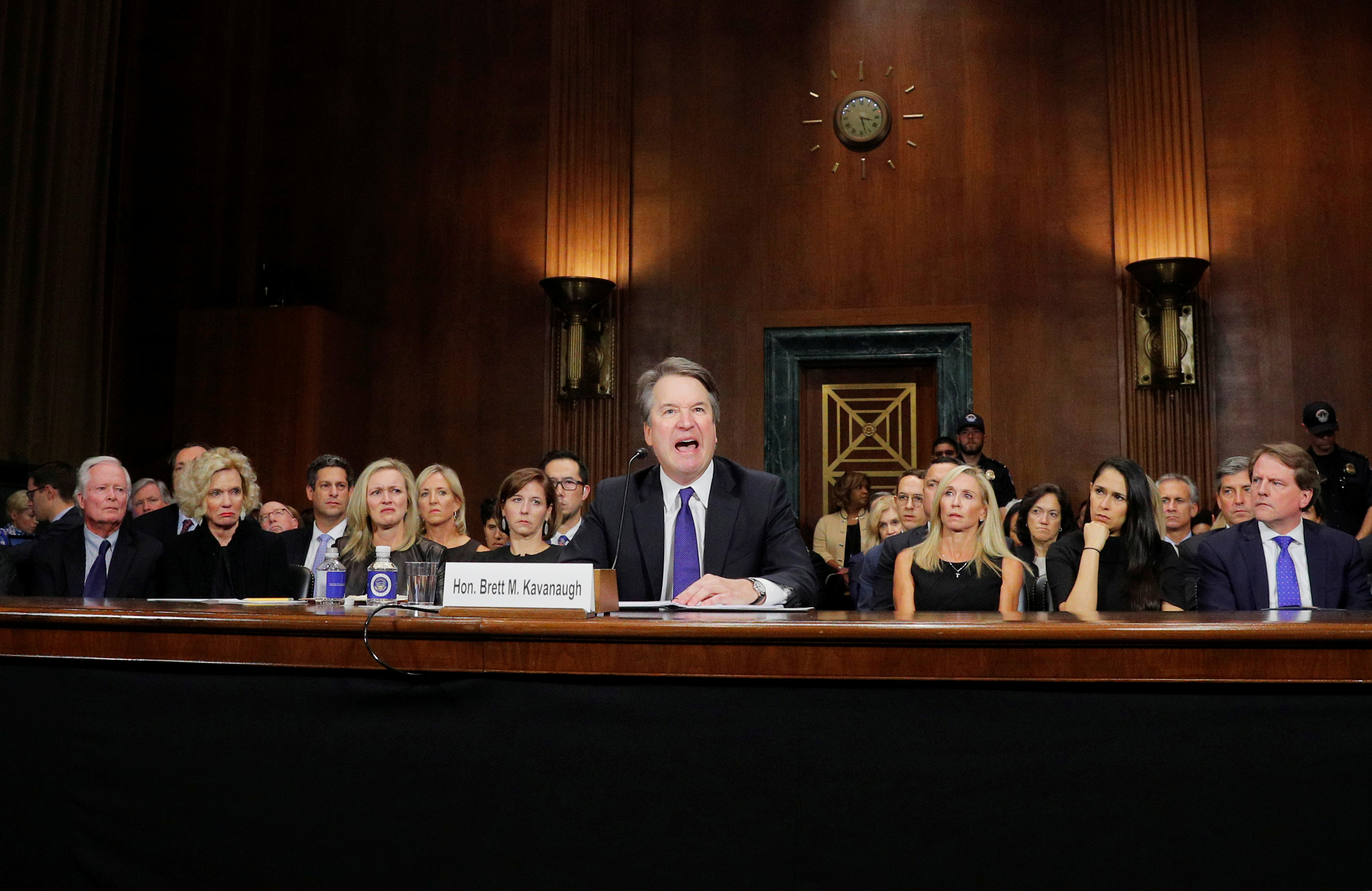 Brett Kavanaugh testifies before a Senate Judiciary Committee confirmation hearing on Sept. 27.