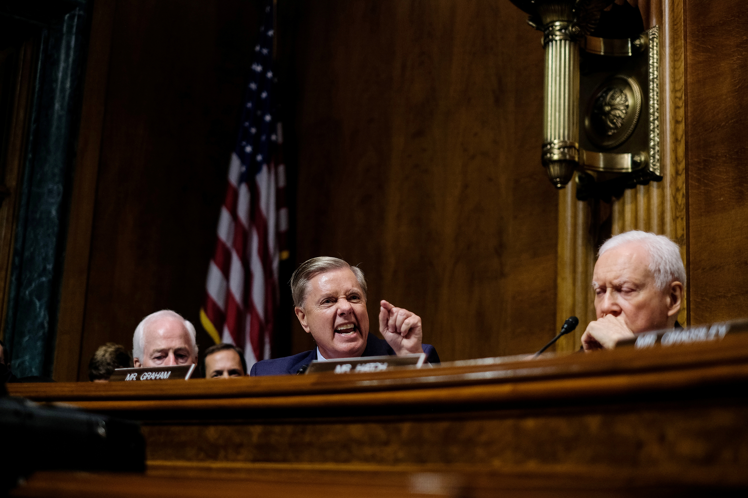 Sen. Lindsey Graham becomes angry during the questioning of Judge Brett Kavanaugh in front of the Senate Judiciary Committee on Sept. 27.