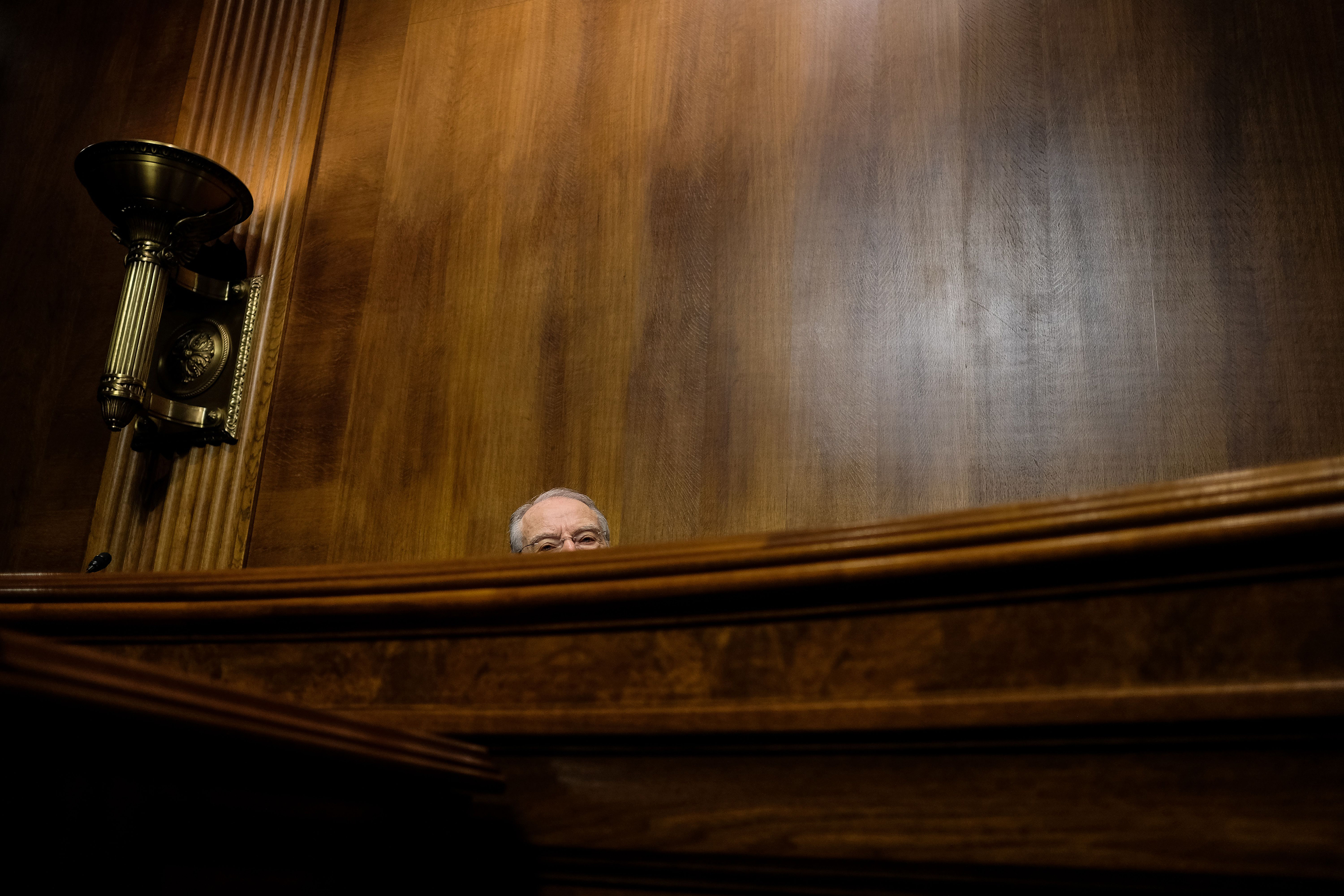Sen. Charles E. Grassley, chairman, is seen as the Senate Judiciary Committee holds a hearing for Christine Blasey Ford on Sept. 27.