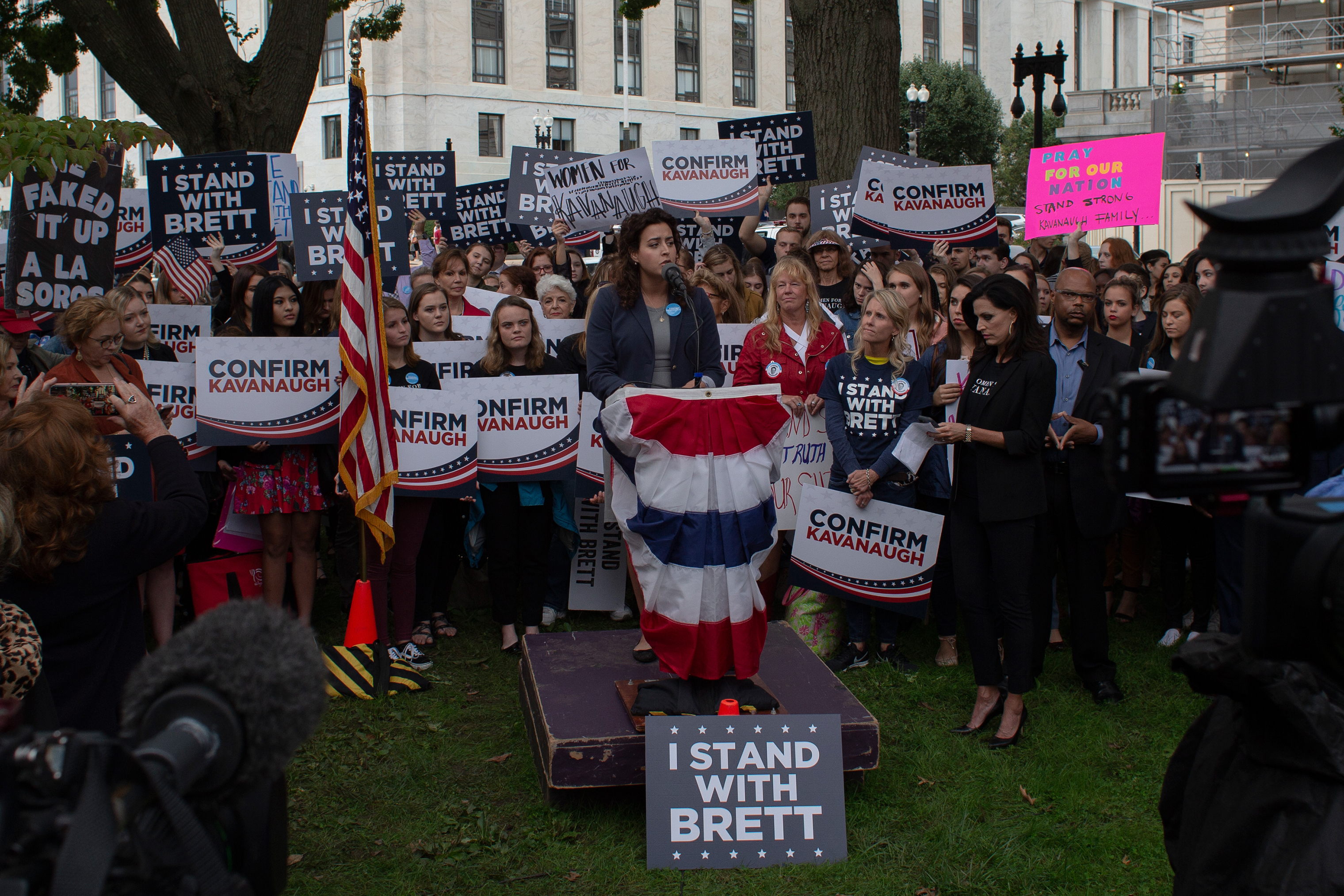 Demonstrators rally in support of the Senate confirmation of Judge Brett Kavanaugh on Capitol Hill on Sept. 27.