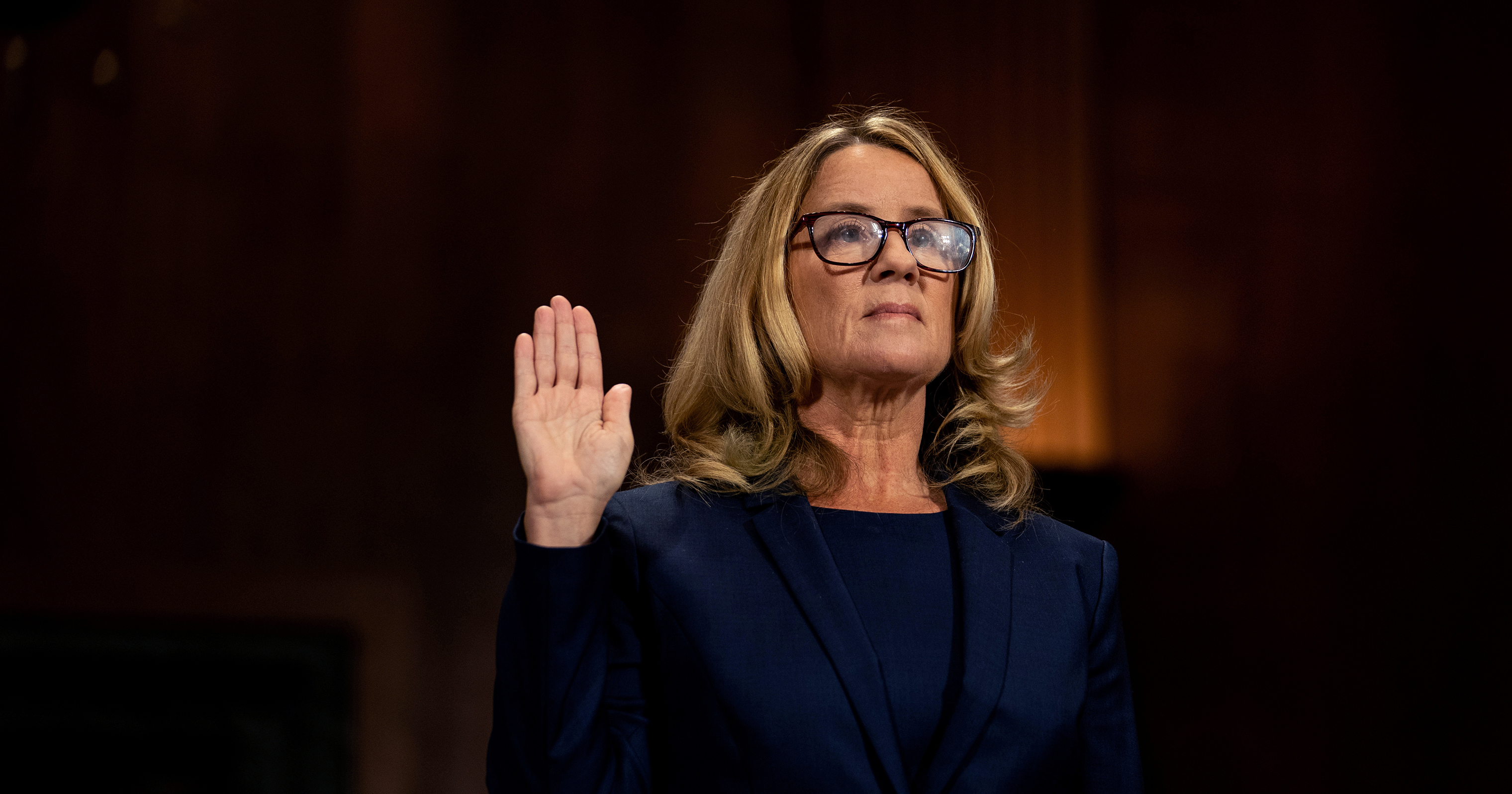 Christine Blasey Ford swears in at a Senate Judiciary Committee hearing for her to testify about sexual assault allegations against Supreme Court nominee Judge Brett Kavanaugh on Capitol Hill in Washington on Sept. 27.