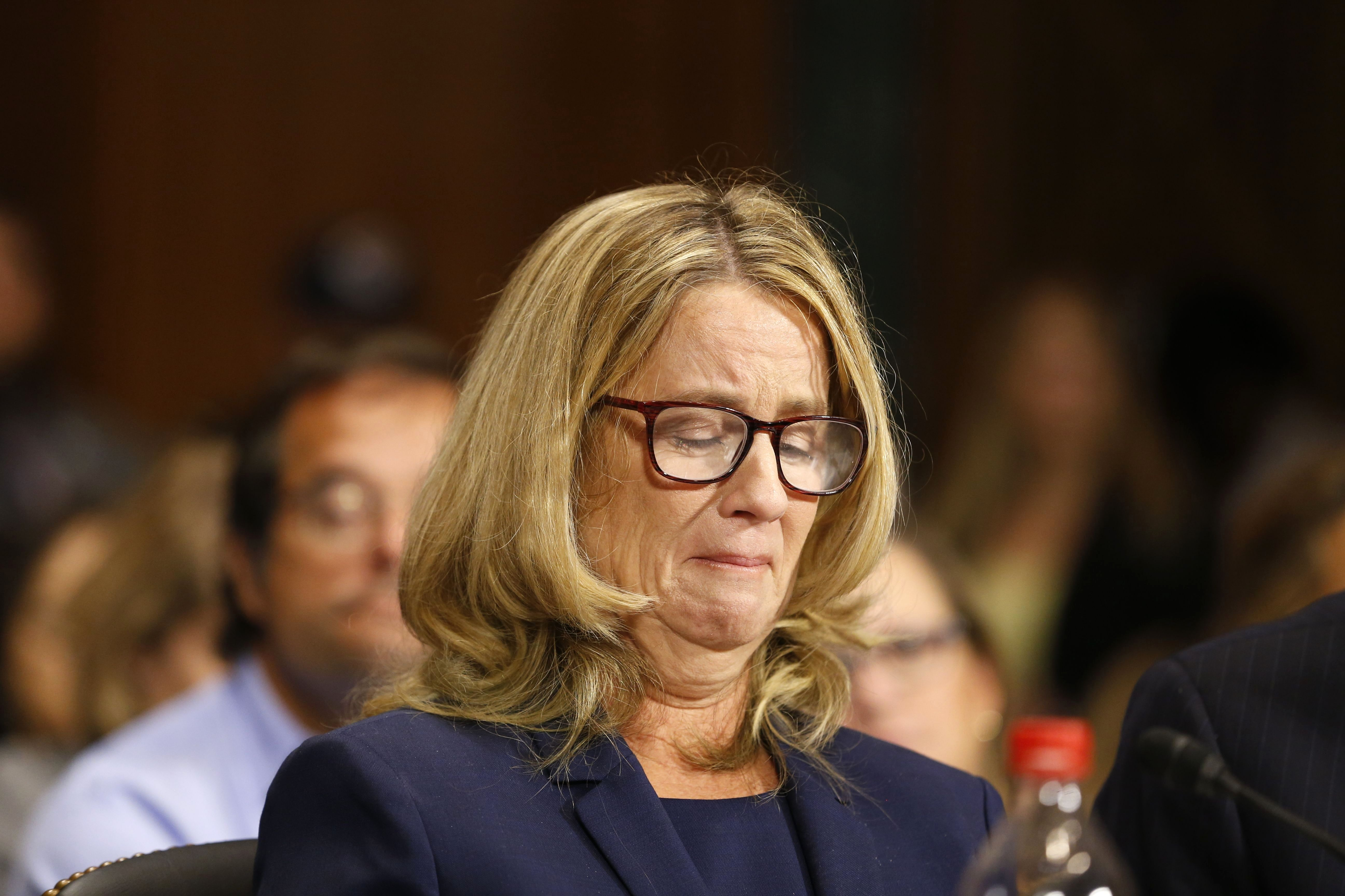 Dr. Christine Blasey Ford speaks before the Senate Judiciary Committee hearing on the nomination of Brett Kavanaugh to be an associate justice of the Supreme Court in Washington DC on Sept. 27, 2018.