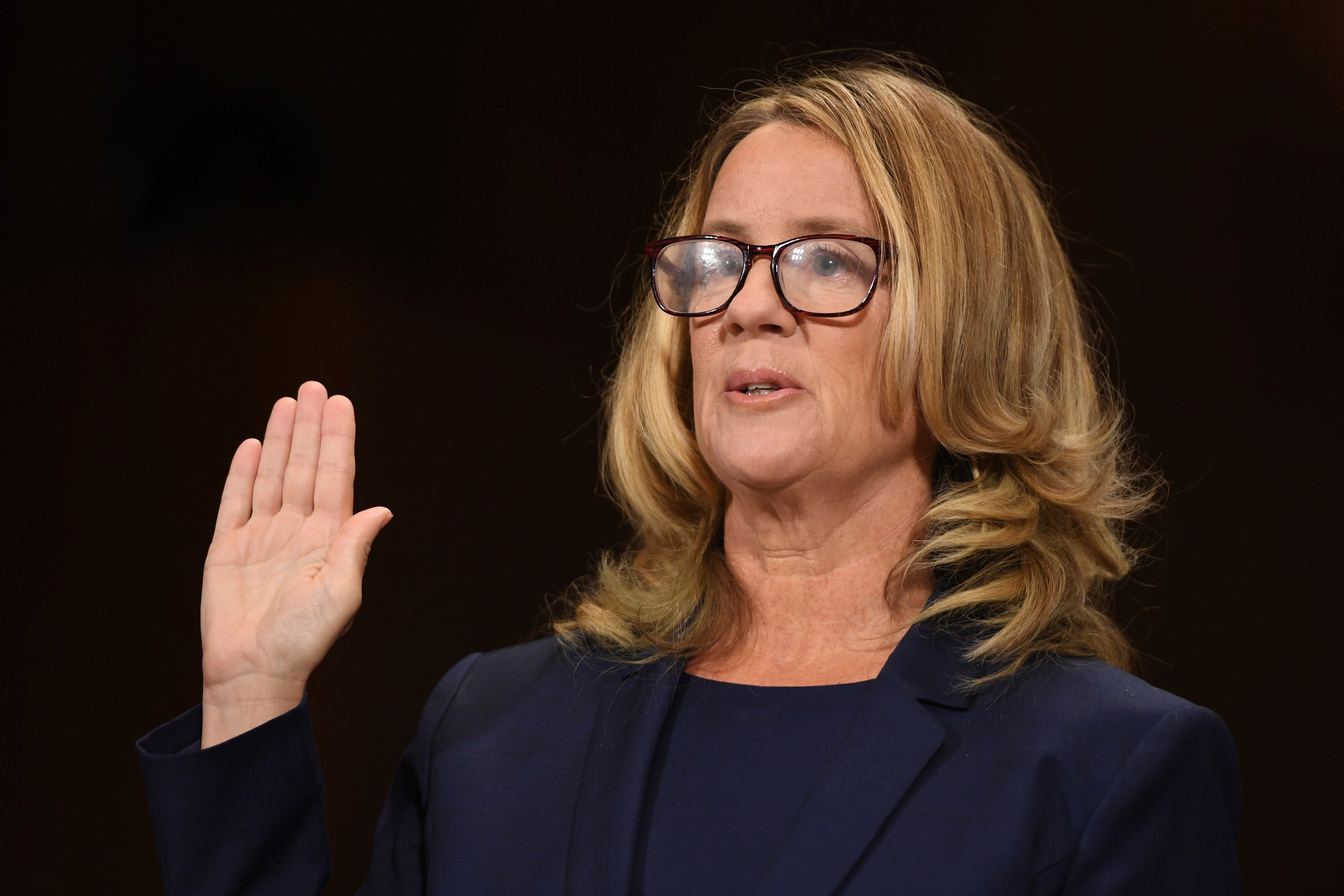 Christine Blasey Ford testified before the Senate Judiciary Committee on Capitol Hill in Washington, on Sept. 27, 2018.